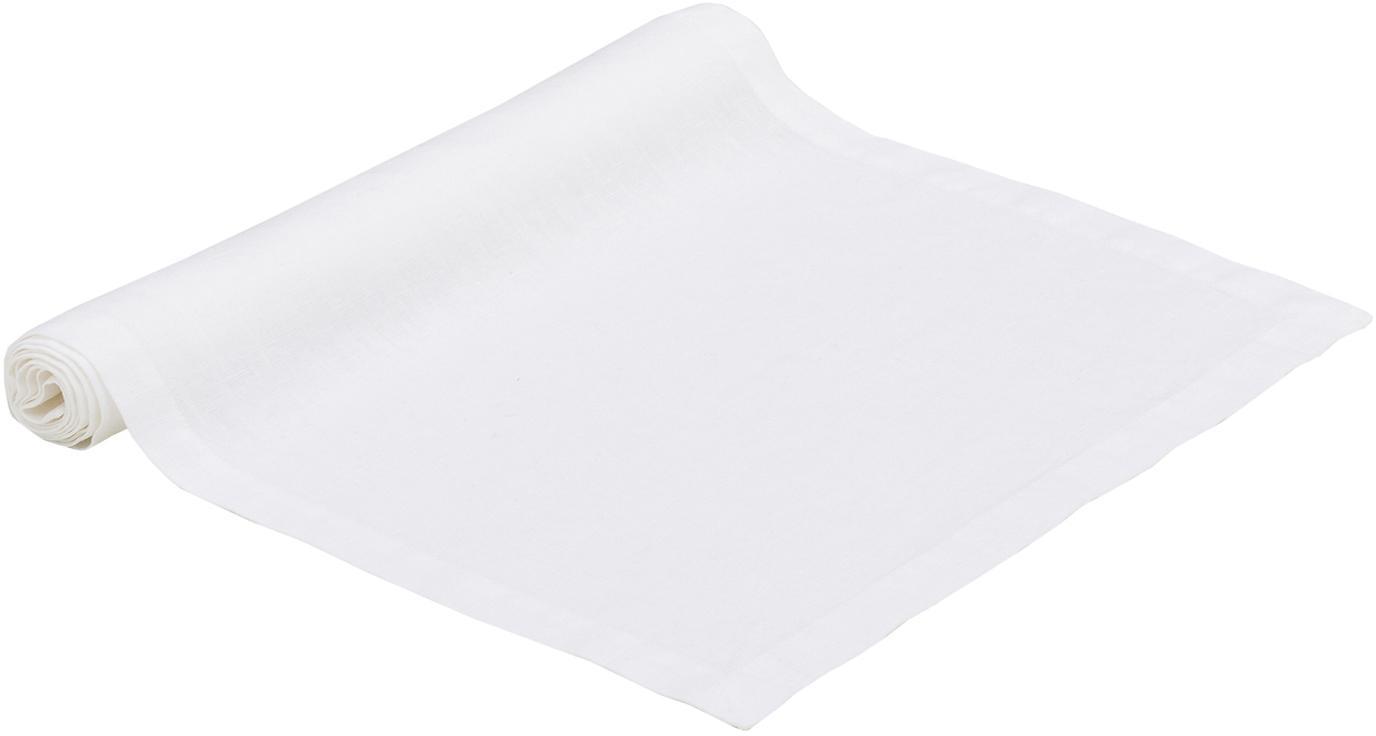 Camino de mesa de lino Ruta, Blanco nieve, An 40 x L 140 cm