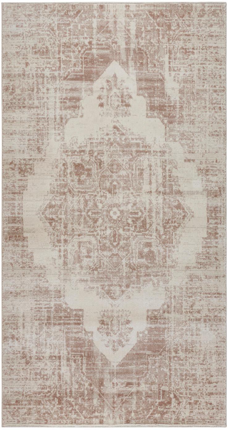 Vloerkleed Garonne in vintage stijl, Polypropyleen, Koperbruin, beige, 80 x 150 cm