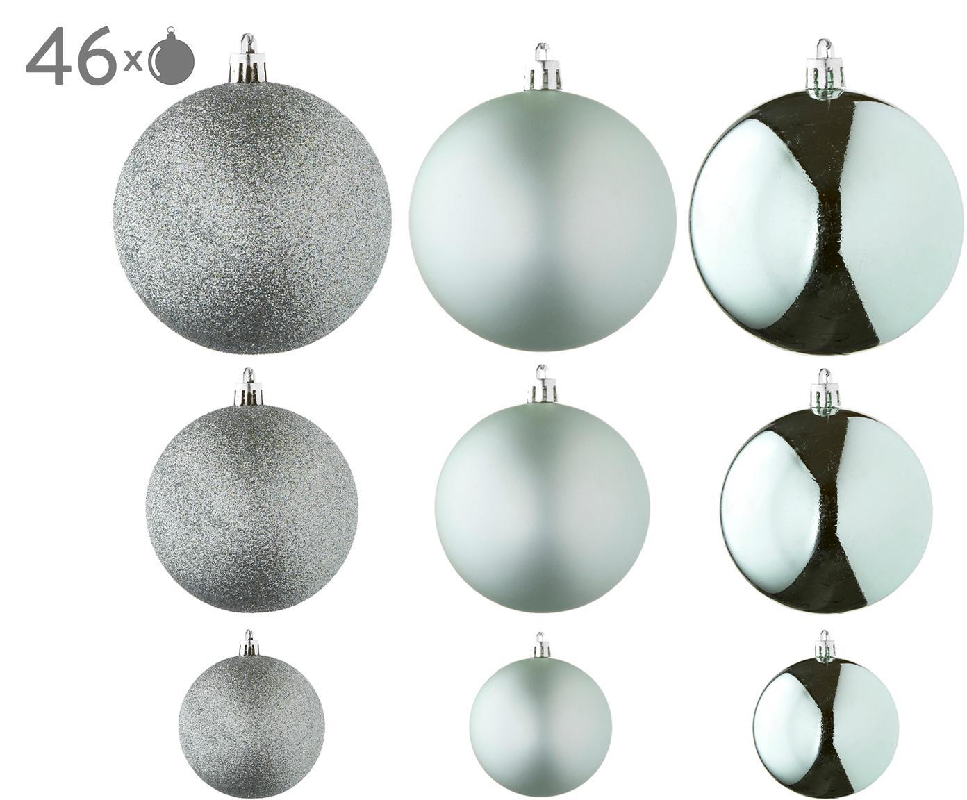 Kerstballenset Silvia, 46-delig, Kunststof, Mintgroen, Verschillende formaten