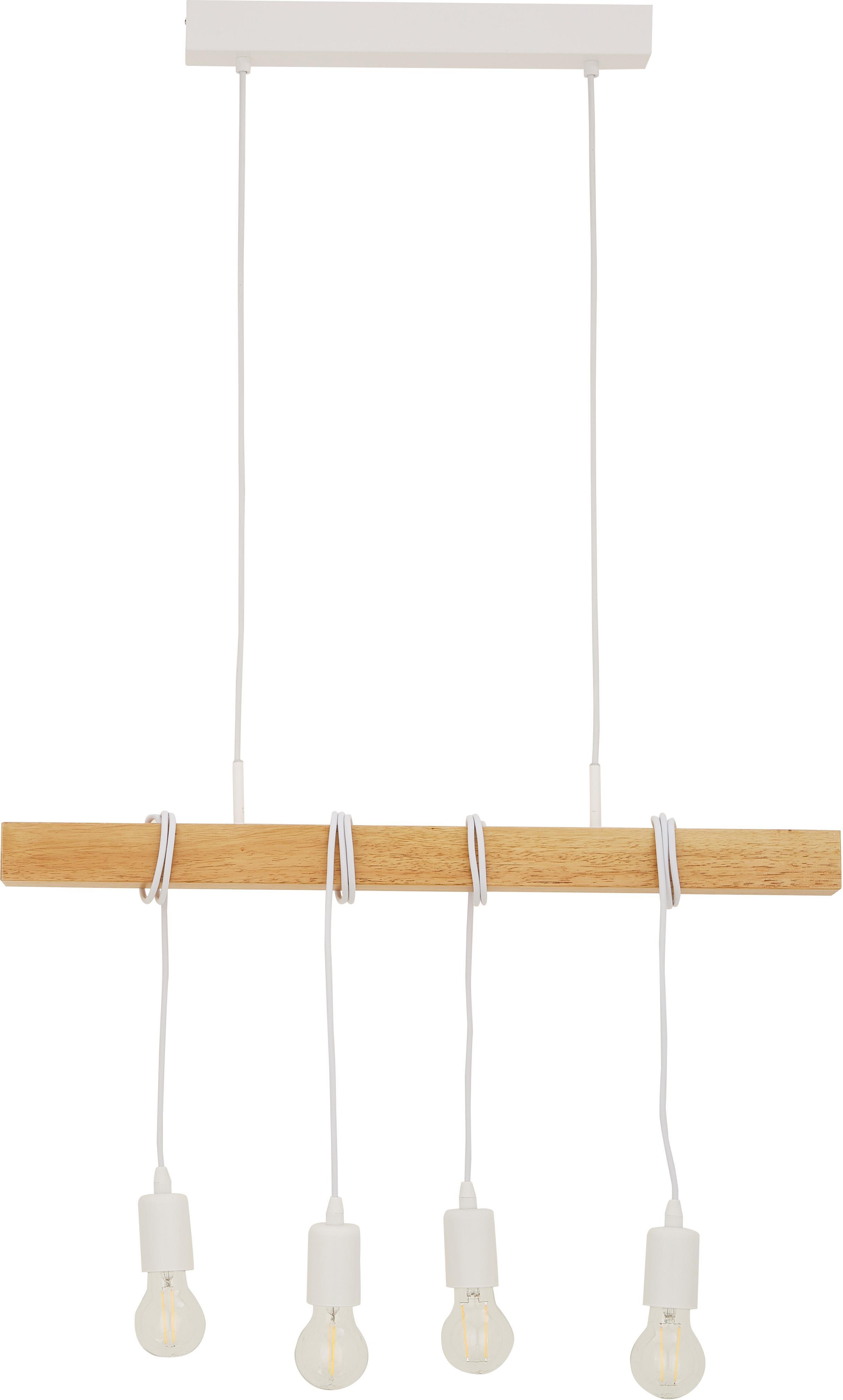 Faretti da soffitto Townshend, Acciaio rivestito, legno, Bianco, legno, Larg. 70 x Alt. 110 cm