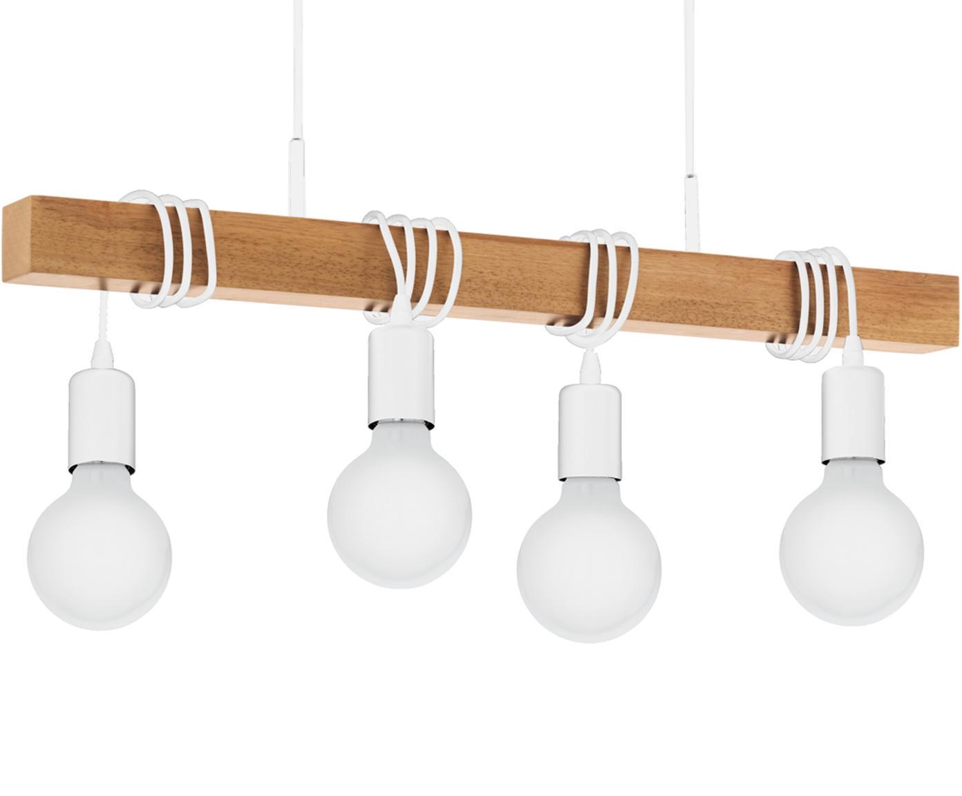 Lampa wisząca Townshend, Biały, drewno naturalne, S 70 x W 110 cm