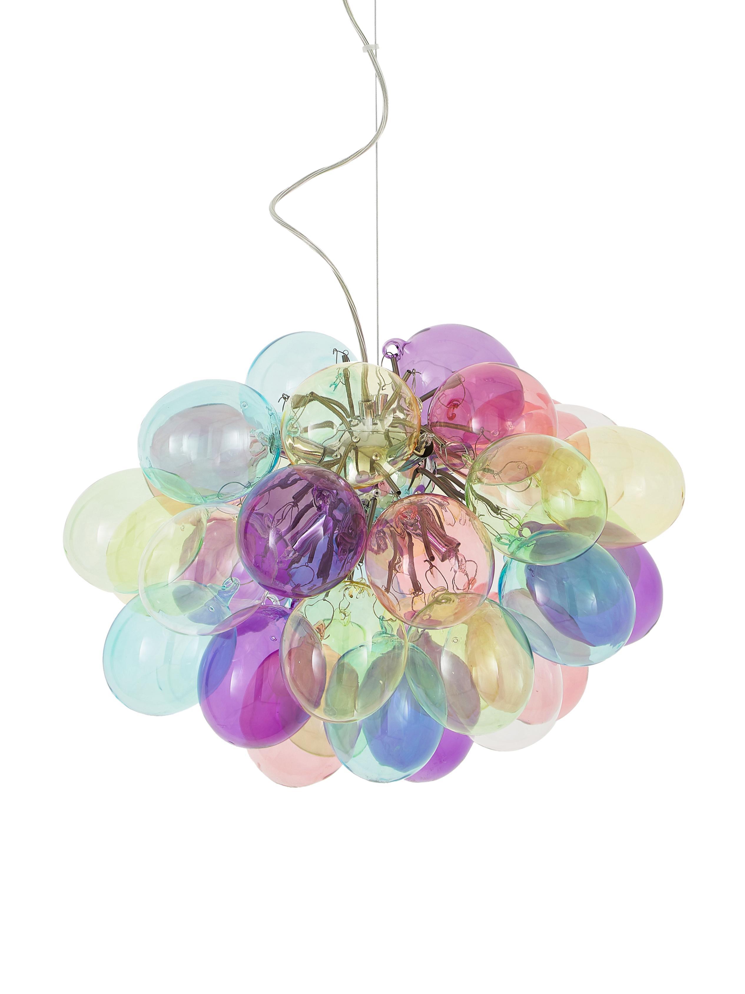 Hanglamp met glazen bollen Gross, Baldakijn: gecoat metaal, Multicolour, Ø 50 x H 45 cm