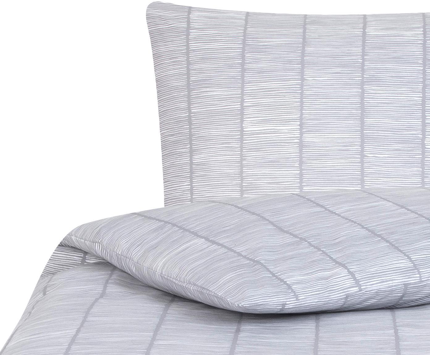 Pościel z bawełny renforcé Paulina, Szary, biały, 135 x 200 cm