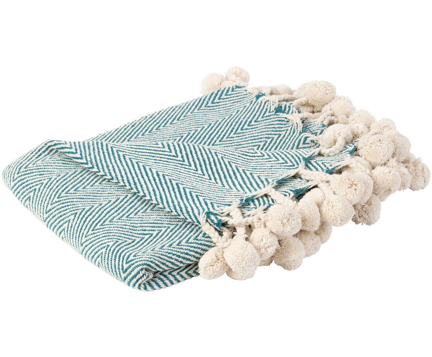 Plaid Lilen mit Fischgrätmuster und Pompoms, 100% Baumwolle, Blau, Beige, 130 x 150 cm