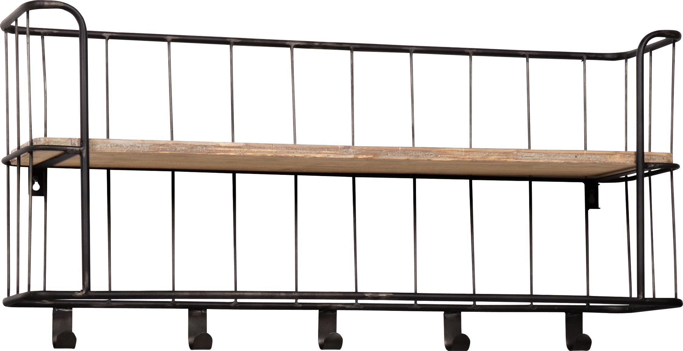 Rustikale Wandgarderobe Giro, Gestell: Metall, beschichtet, Dunkelgrau, Mangoholz, 85 x 40 cm
