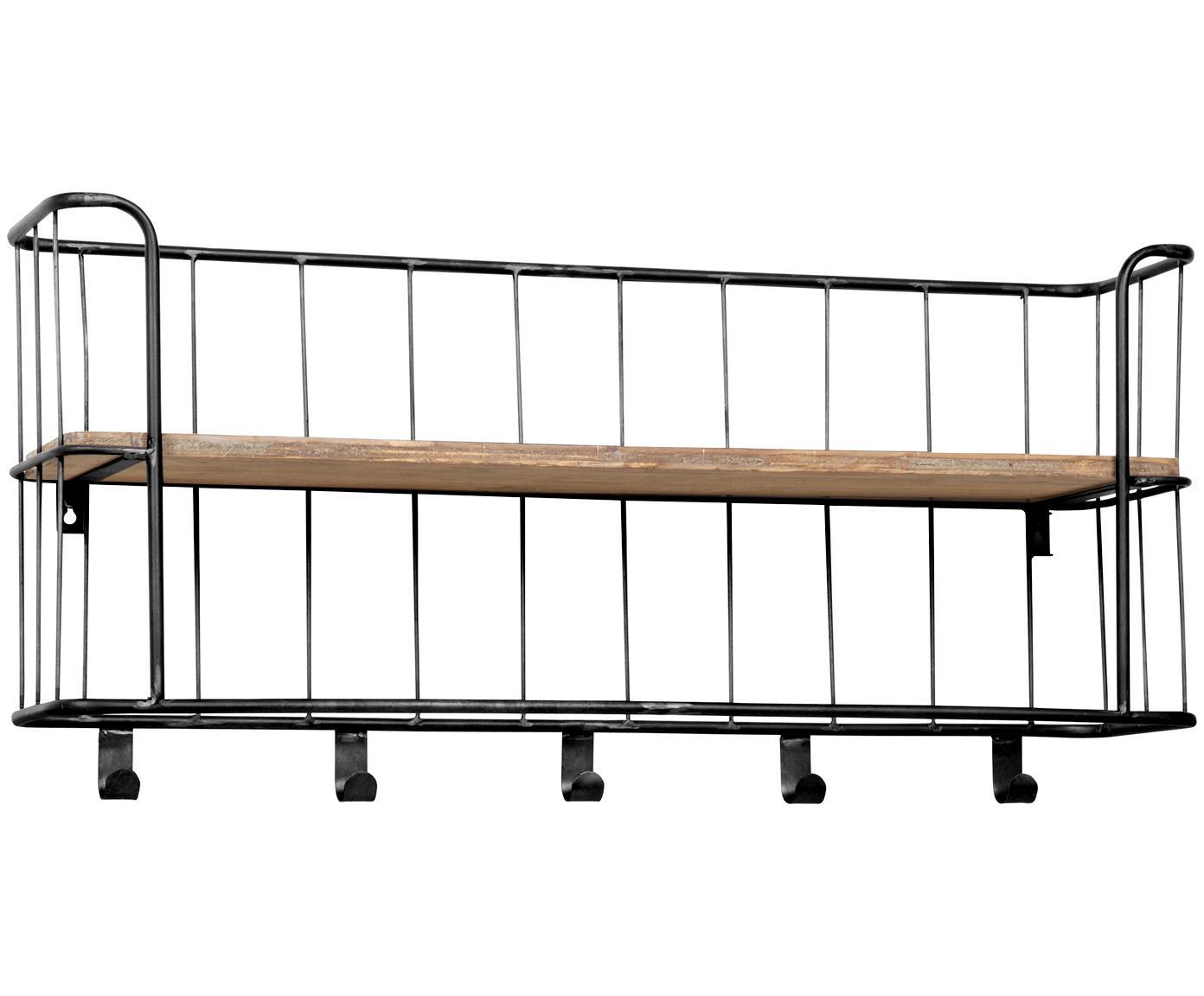 Ripiano a muro con appendiabiti Giro, Struttura: metallo, cromato, Scaffale: legno di mango, Grigio scuro, legno di mango, Larg. 85 x Alt. 40 cm