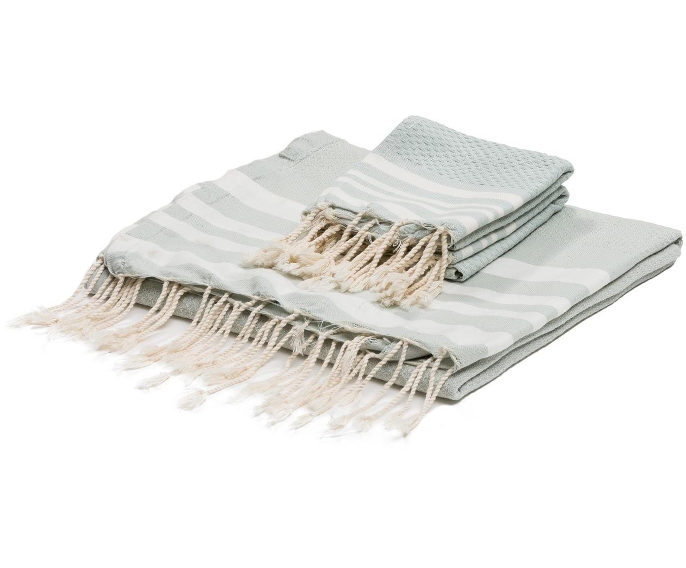 Set 3 asciugamani Hamptons, Verde menta, bianco, Diverse dimensioni