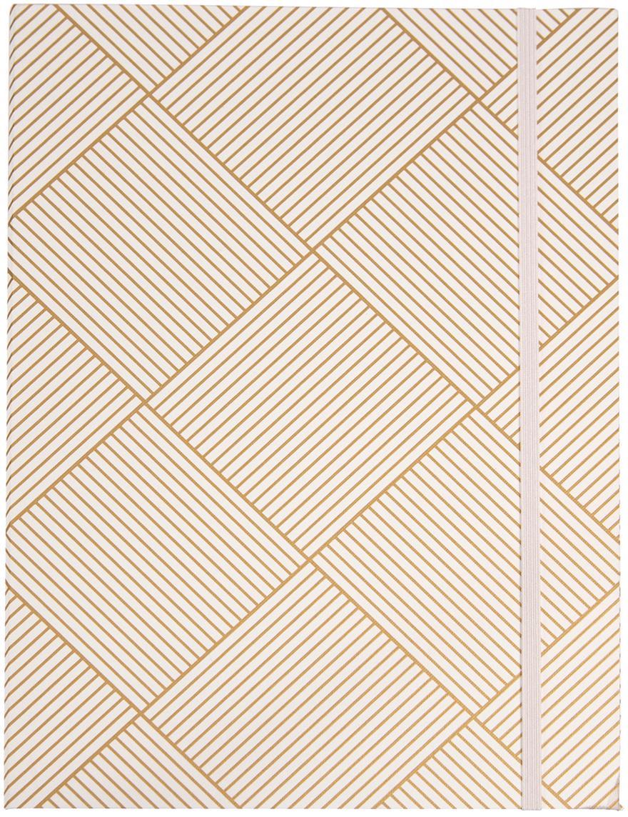 Sammelmappe Paulina, Goldfarben, Weiss, 23 x 32 cm