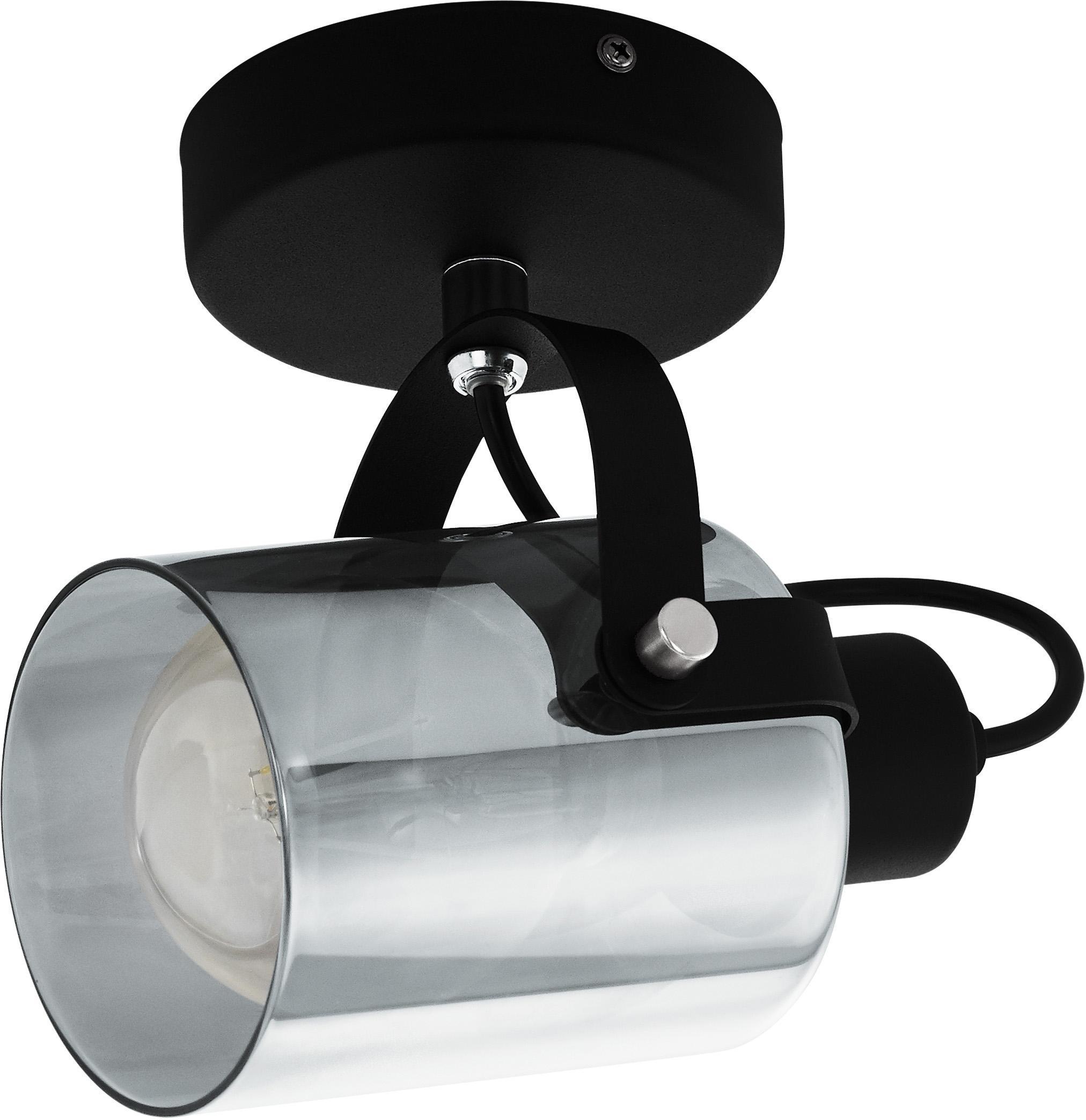 Decken- und Wandleuchte Berregas aus verchromtem Glas, Lampenschirm: Glas, Baldachin: Metall, lackiert, Chromfarben, Schwarz, 13 x 11 cm