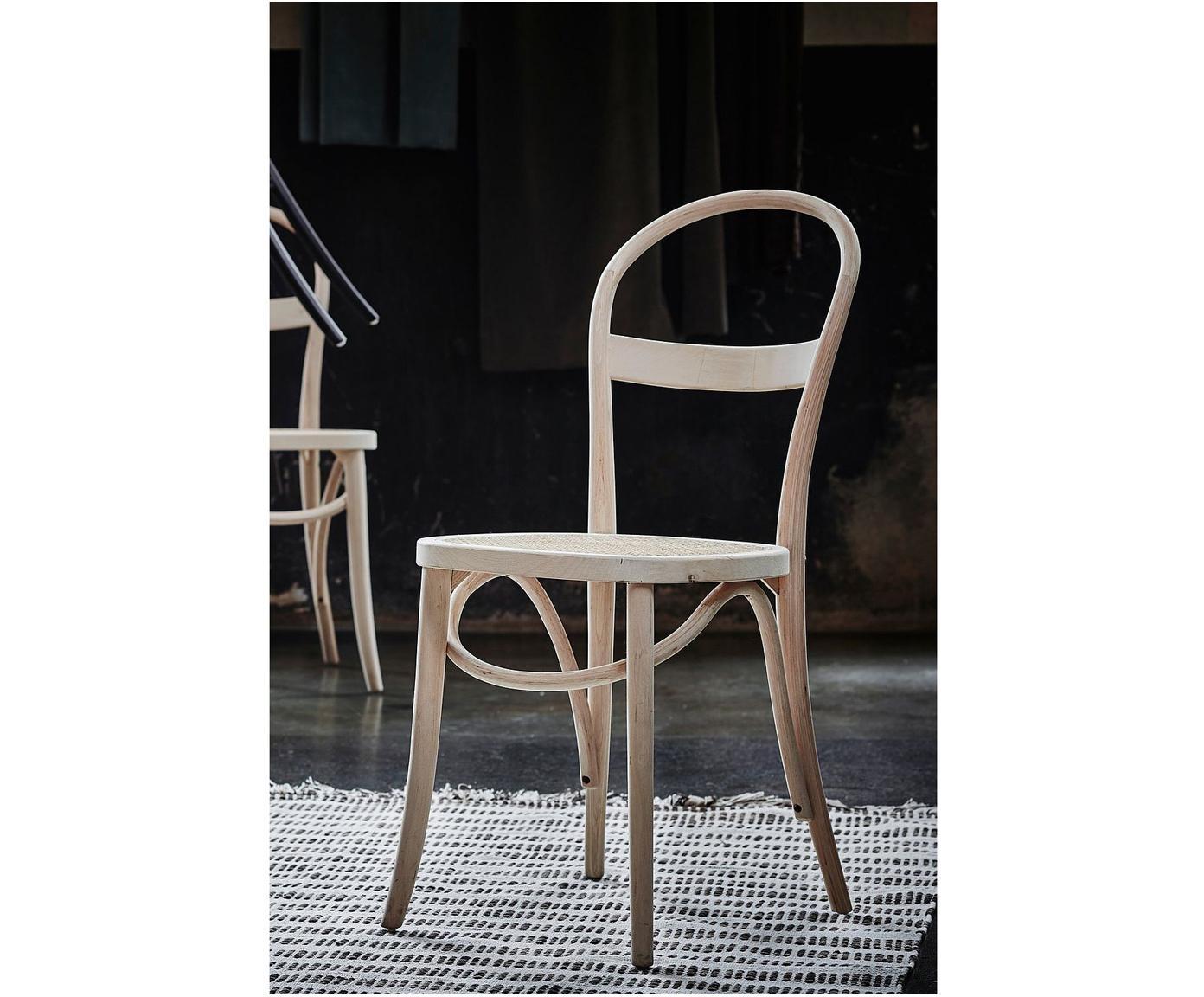Drewniane krzesło z plecionką wiedeńską Rippats, 2 szt., Stelaż: drewno brzozowe, Drewno brzozowe, rattan, S 39 x G 53 cm
