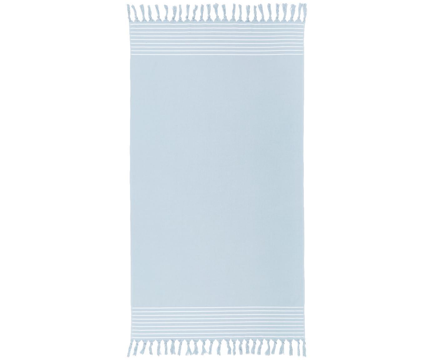Telo fouta con retro in spugna Freddy, Retro: spugna, Azzurro, Larg. 100 x Lung. 180 cm