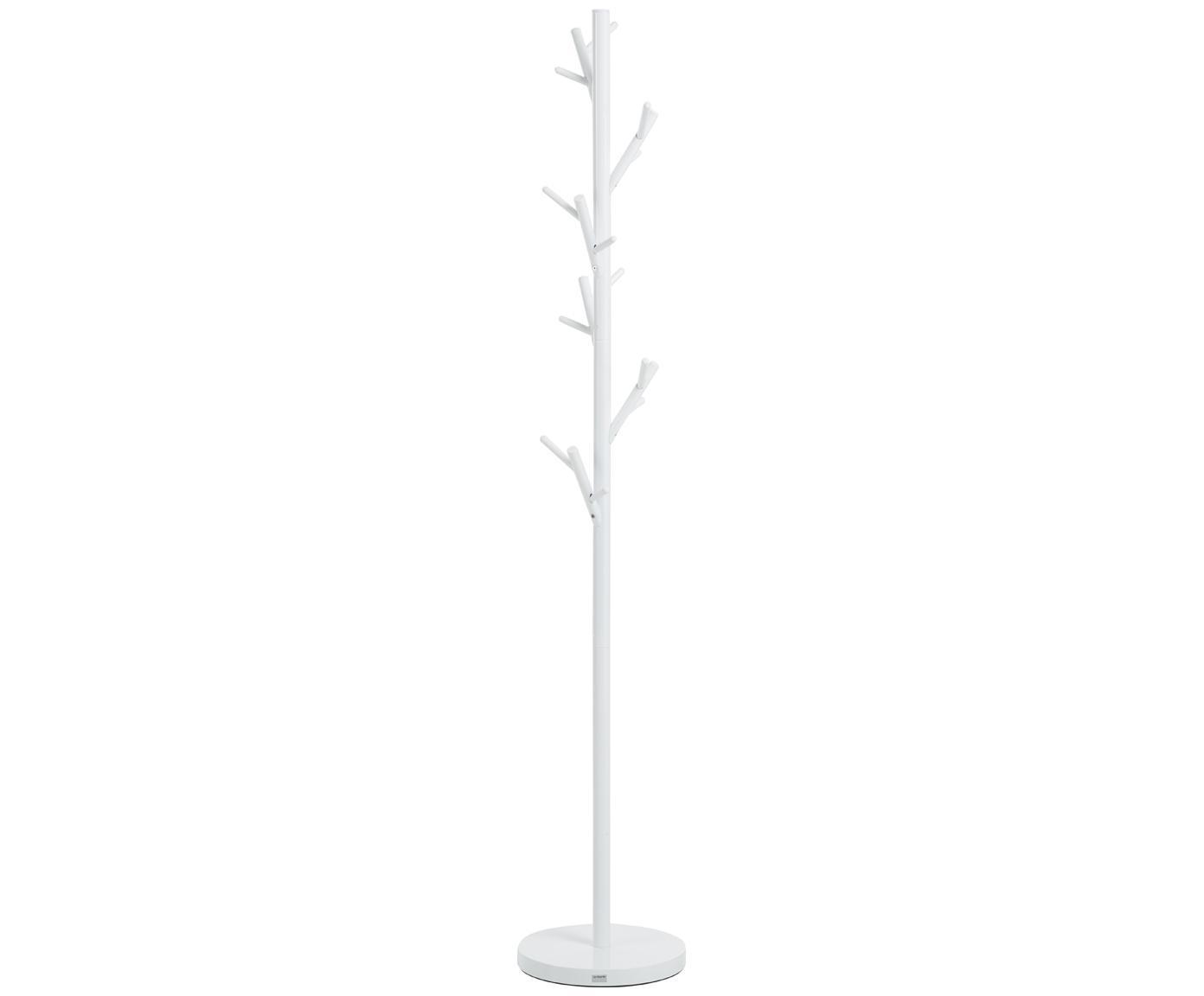 Kapstok Tree met 18 Haken, Gepoedercoat staal, Wit, Ø 28 x H 170 cm