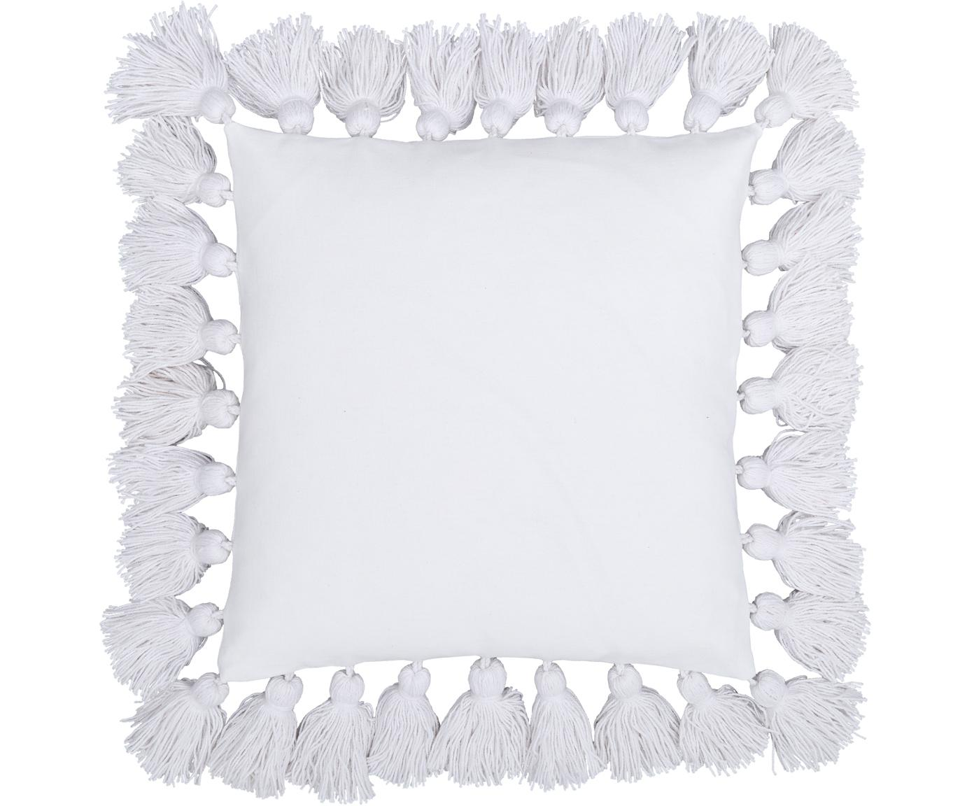 Kissenhülle Shylo mit Quasten, 100% Baumwolle, Cremeweiß, 40 x 40 cm