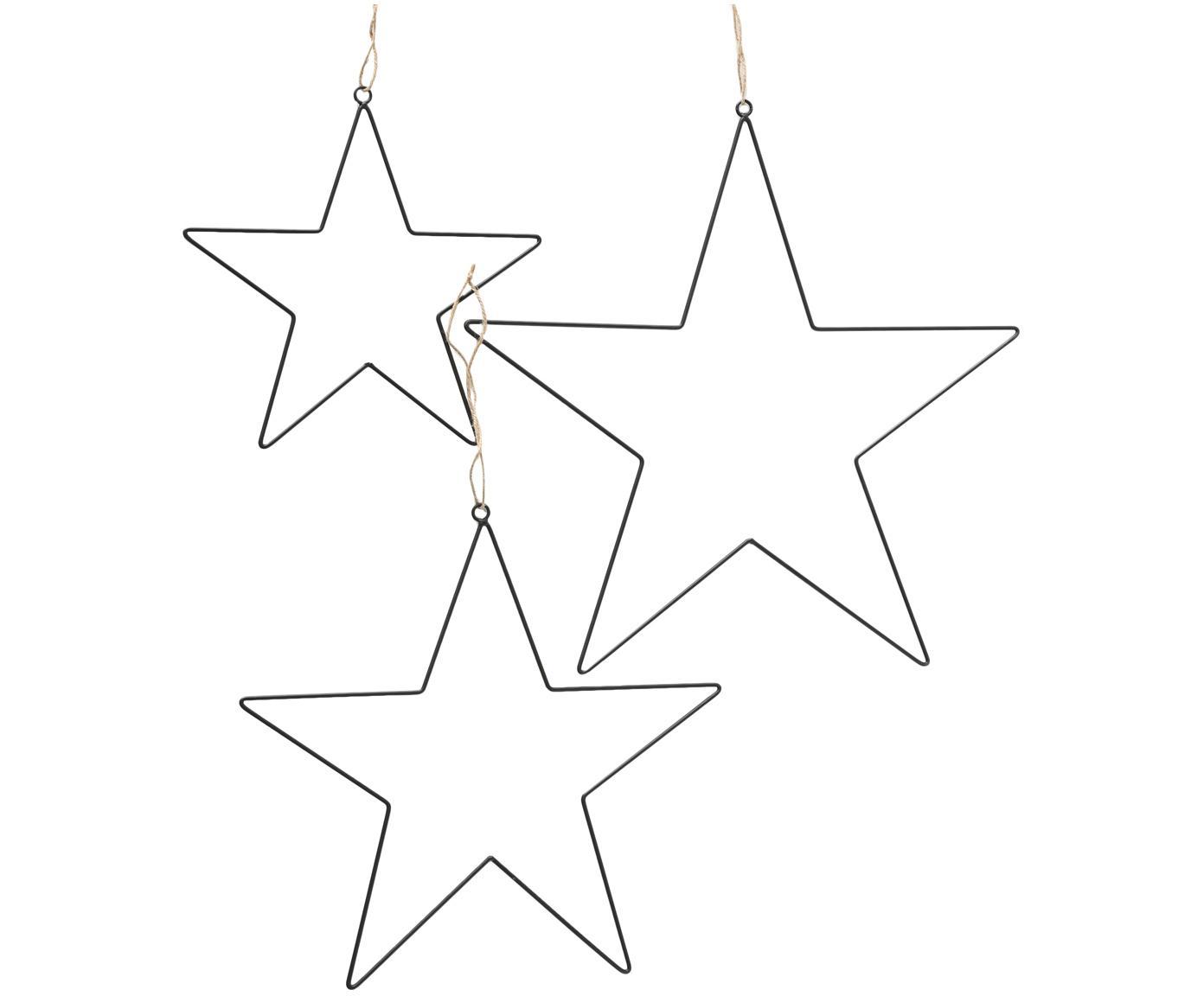 Set stelle di Natale in metallo Elvira,3 pz., Nero, Diverse dimensioni
