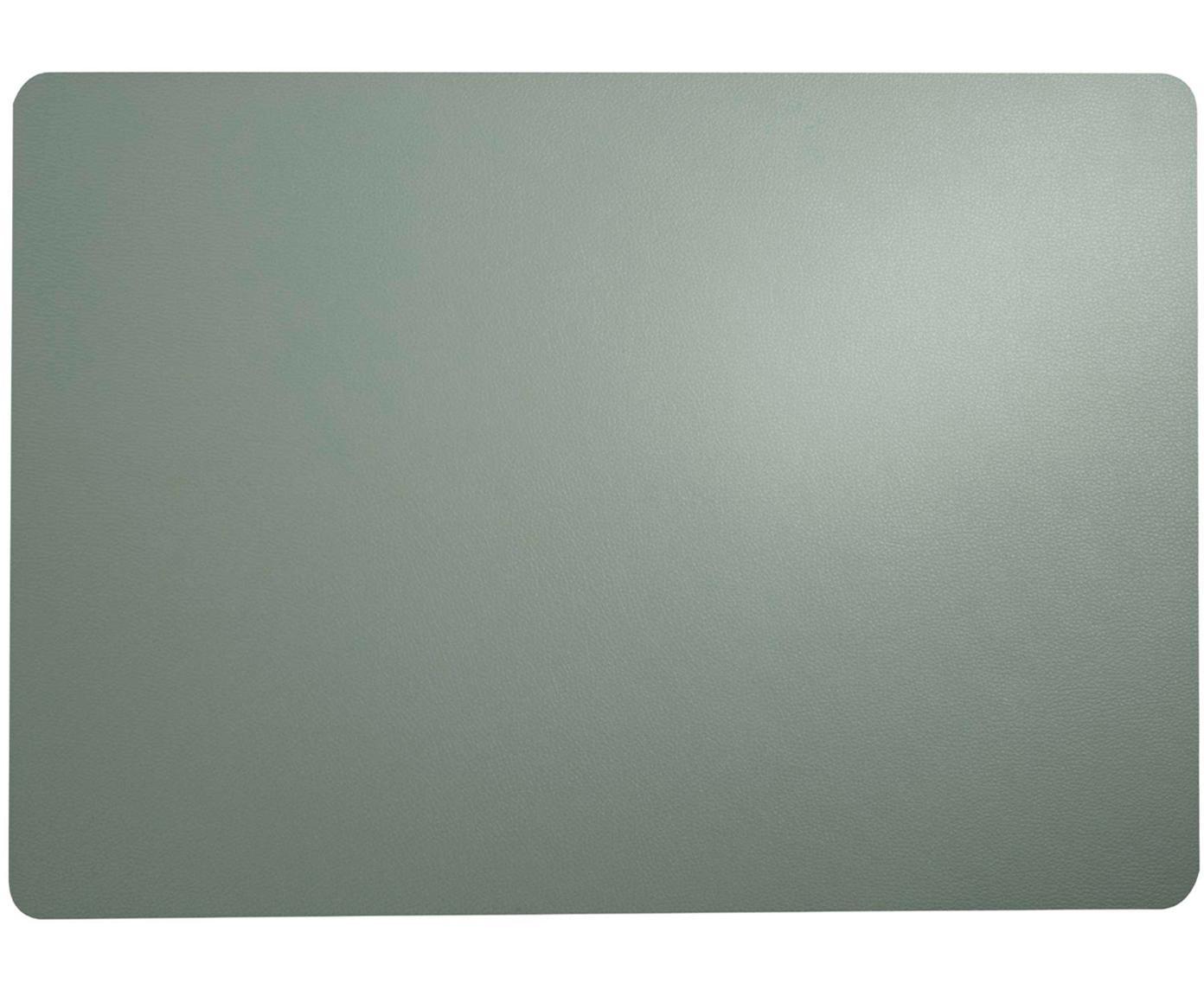 Kunststoffen placemats Pik van kunstleer, 2 stuks, Kunststof (PVC) van kunstleer, Mintgroen, 33 x 46 cm