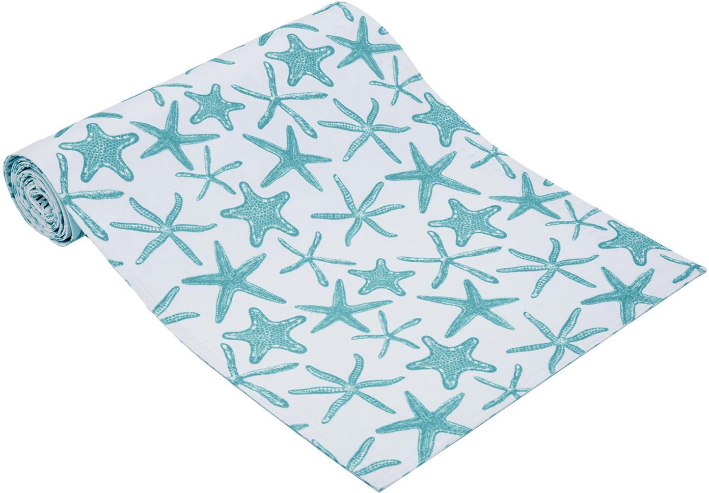 Camino de mesa impermeable Starbone, reversible, Poliéster, Blanco, azul, An 33 x L 178 cm