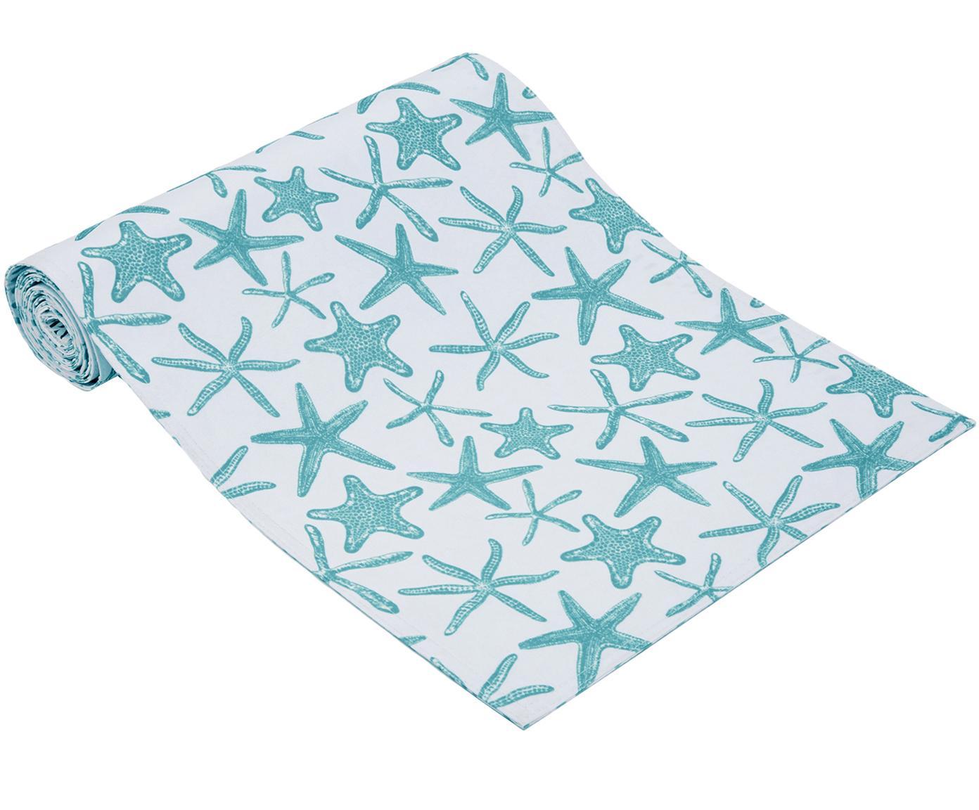 Wasserabweisender Tischläufer Starbone, beidseitig verwendbar, Polyester, Weiß, Blau, 33 x 178 cm