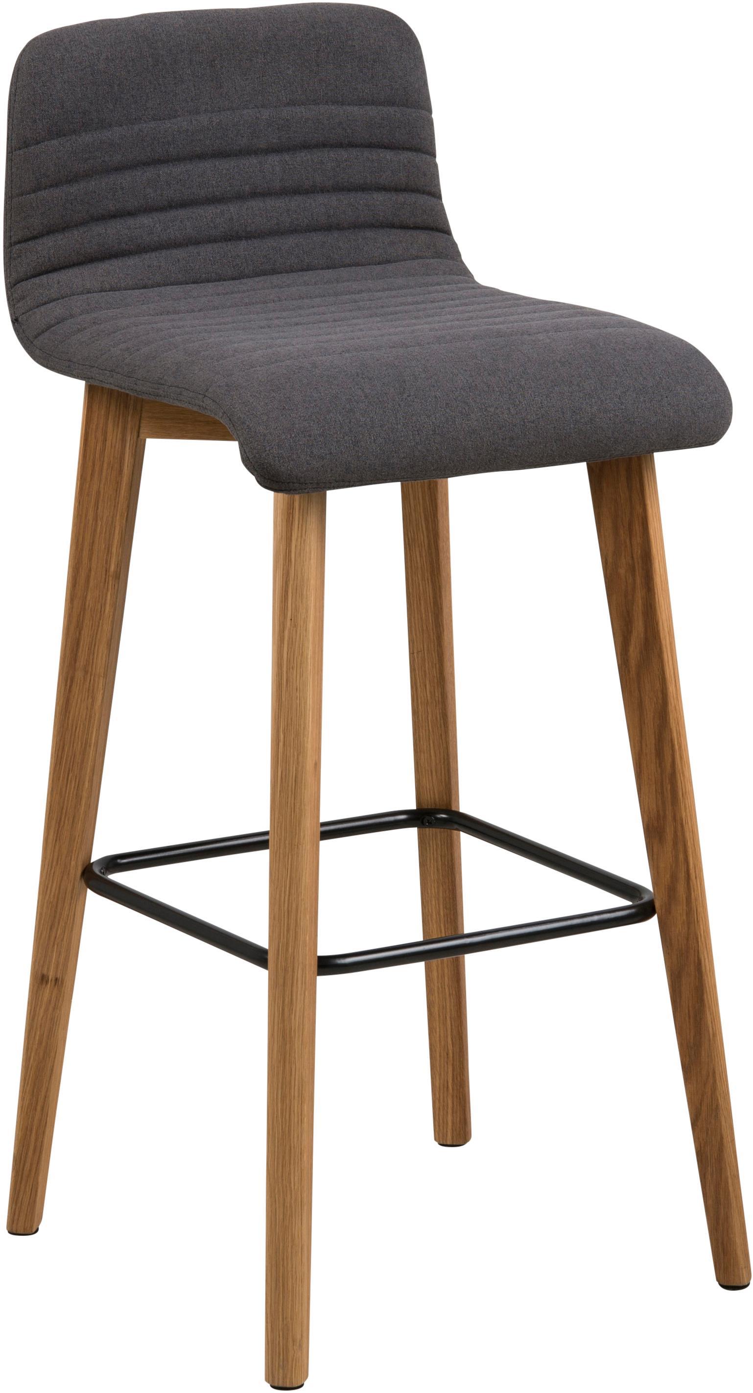 Krzesło barowe  Arosa, Tapicerka: poliester, Nogi: drewno dębowe, Tapicerka: antracytowy Nogi: drewno dębowe Podnóżek: czarny, 44 x 101 cm