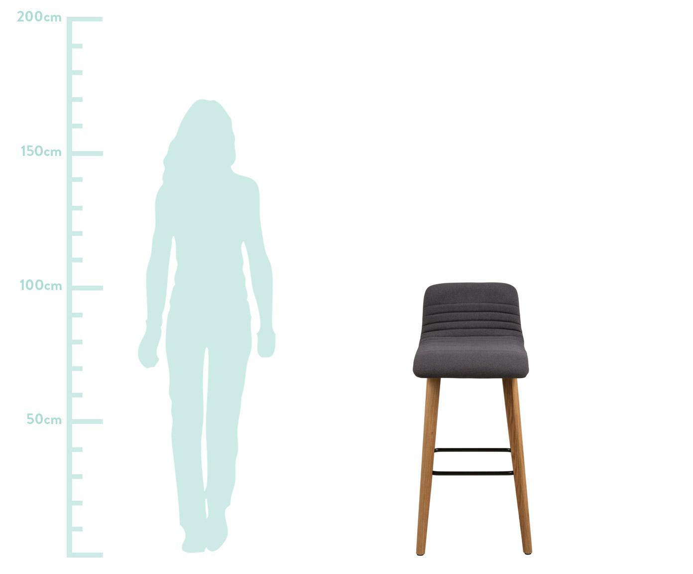 Barstuhl Arosa, Bezug: Polyester, Beine: Eichenholz, Sitzschale: Sperrholz, Bezug: Anthrazit<br>Beine: Eichenholz<br>Fußstütze: Schwarz, 44 x 101 cm