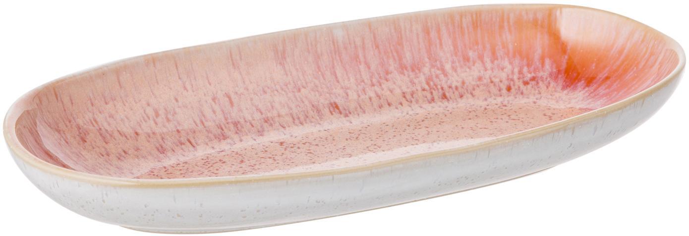 Ręcznie malowany półmisek Areia, Kamionka, Odcienie czerwonego, złamana biel, jasny beżowy, S 23 x G 12 cm