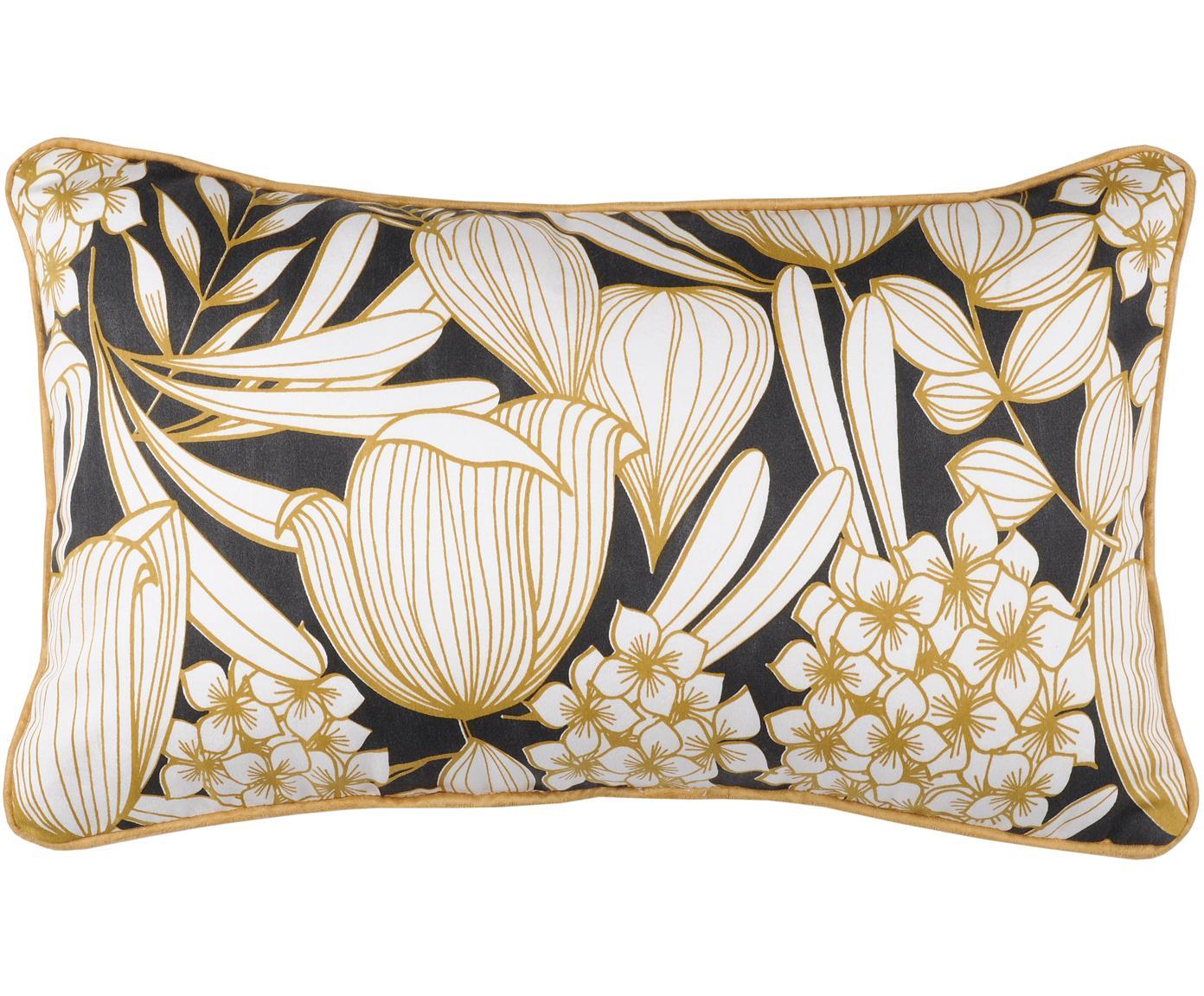 Kussen Ortance met bloemmotief in mosterdgeel/zwart, met vulling, Mosterdgeel, zwart, crèmekleurig, 30 x 50 cm