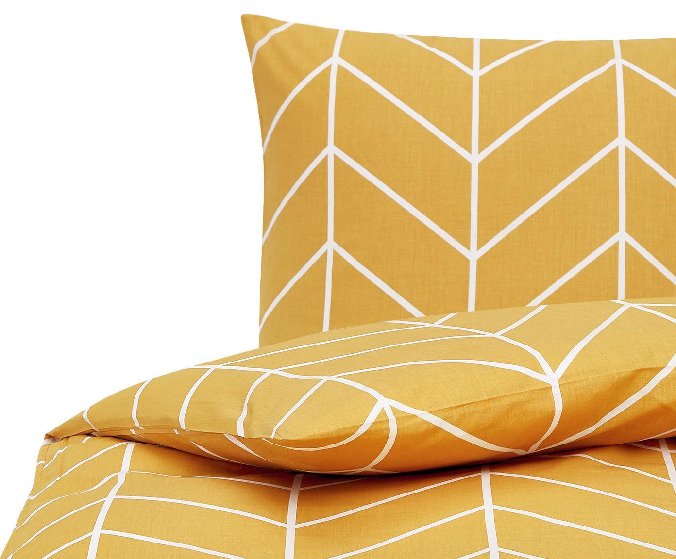 Baumwoll-Bettwäsche Mirja mit grafischem Muster, Webart: Renforcé Fadendichte 144 , Senfgelb, Cremeweiß, 240 x 220 cm + 2 Kissen 80 x 80 cm