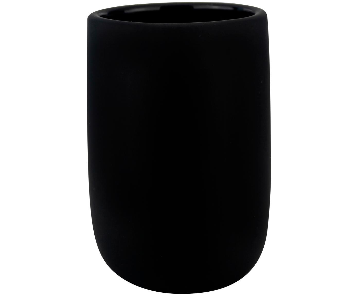 Vaso cepillo de dientes Lotus, Cerámica, Negro, Ø 7 x Al 10 cm