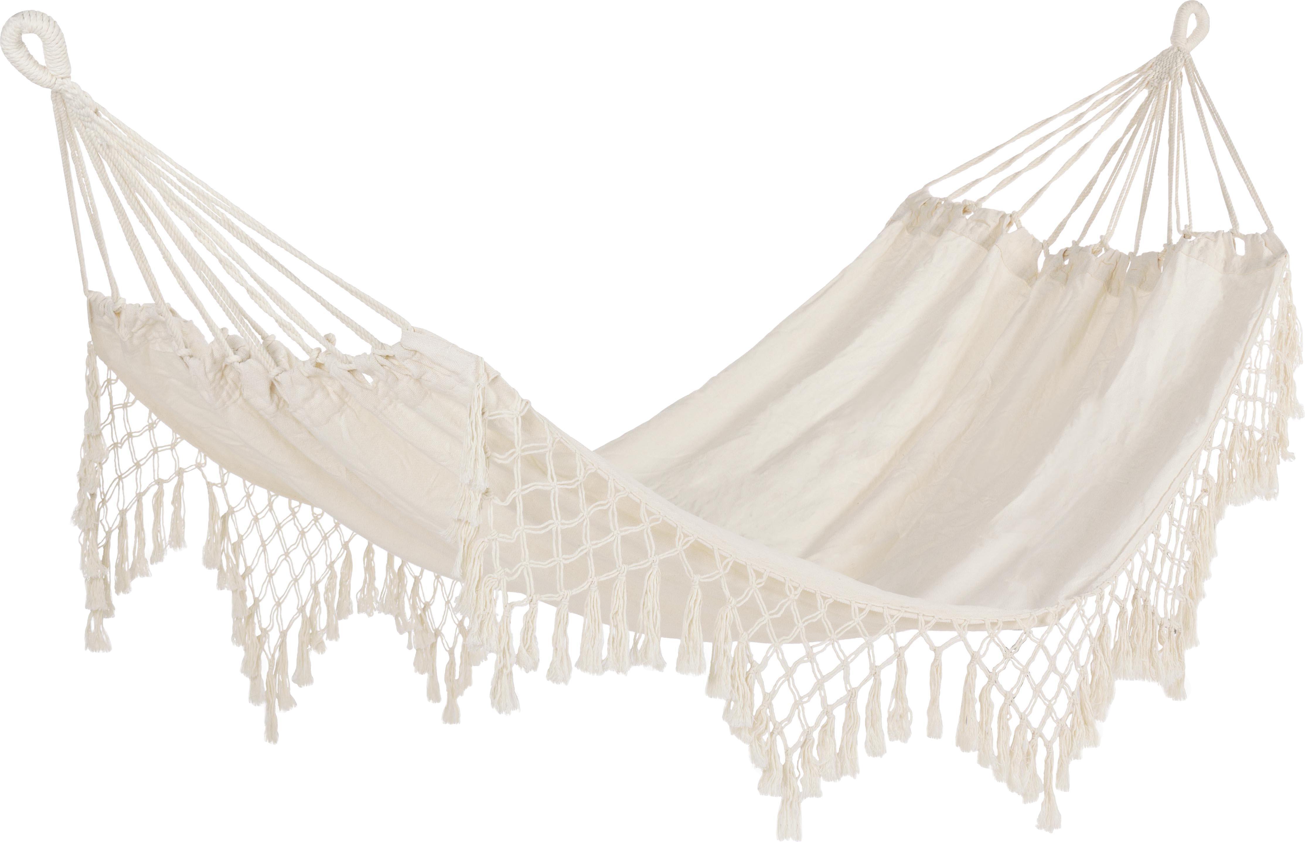 Hangmat Kauana, 65% katoen, 35% polyester, Crèmekleurig, 100 x 200 cm