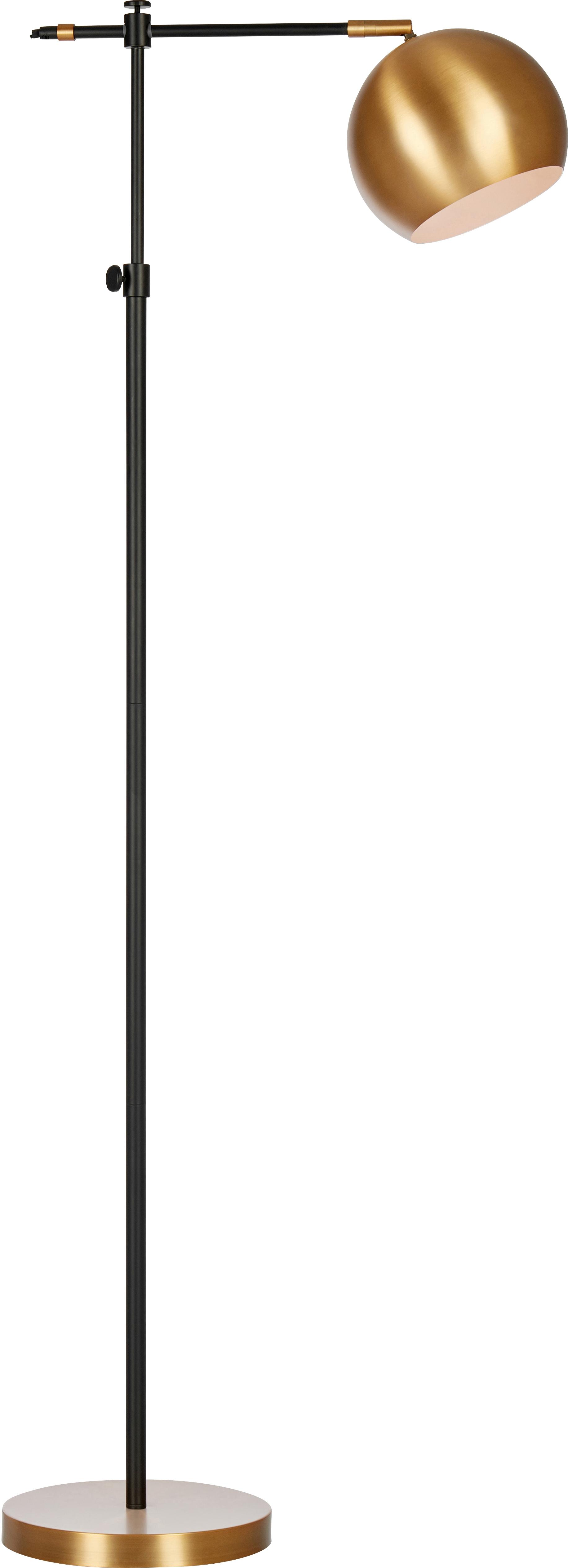 Industrial-Leselampe Chester aus Metall, Gestell: Messing, lackiert, Braun, Schwarz, 25 x 135 cm