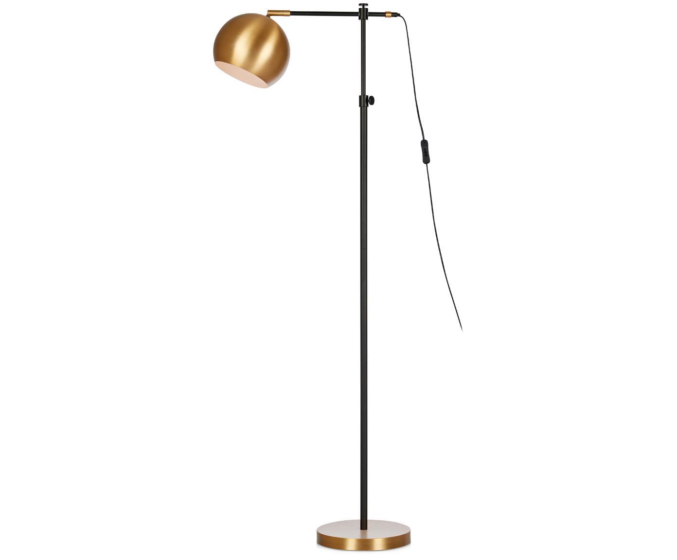 Lampa podłogowa Chester, Mosiądz lakierowany, Brązowy, czarny, S 25 x W 135 cm