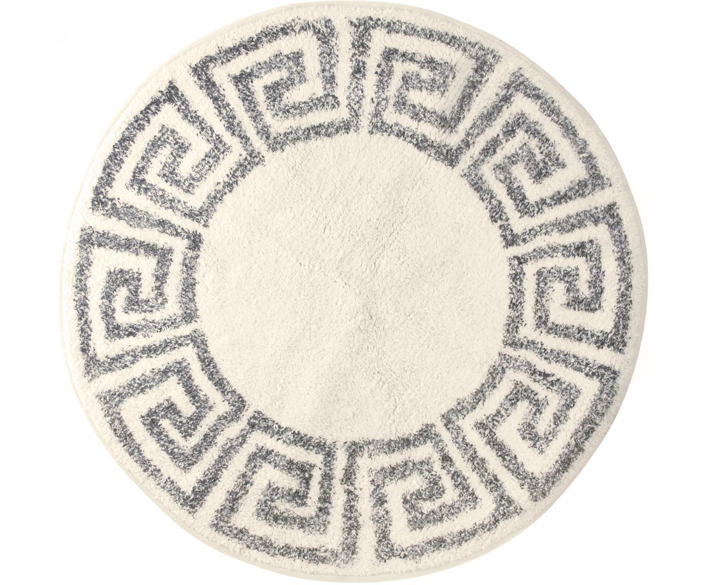 Runde Badematte Greek, rutschfest, Flor: 100% Baumwolle, Creme, Grau, Ø 80 cm