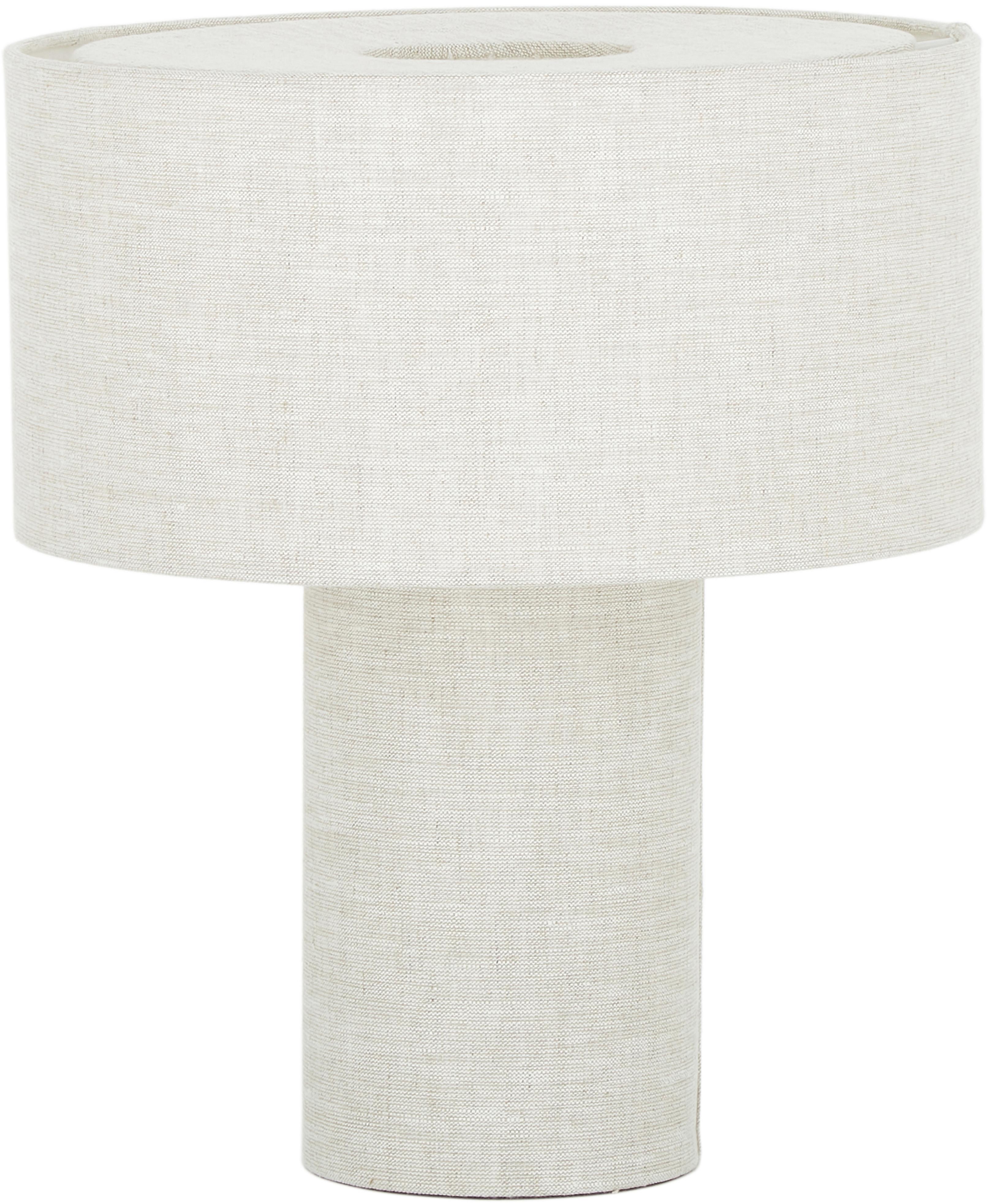Lámpara de mesa Ron, Pantalla: tela, Cable: cubierto en tela, Beige, Ø 30 x Al 35 cm