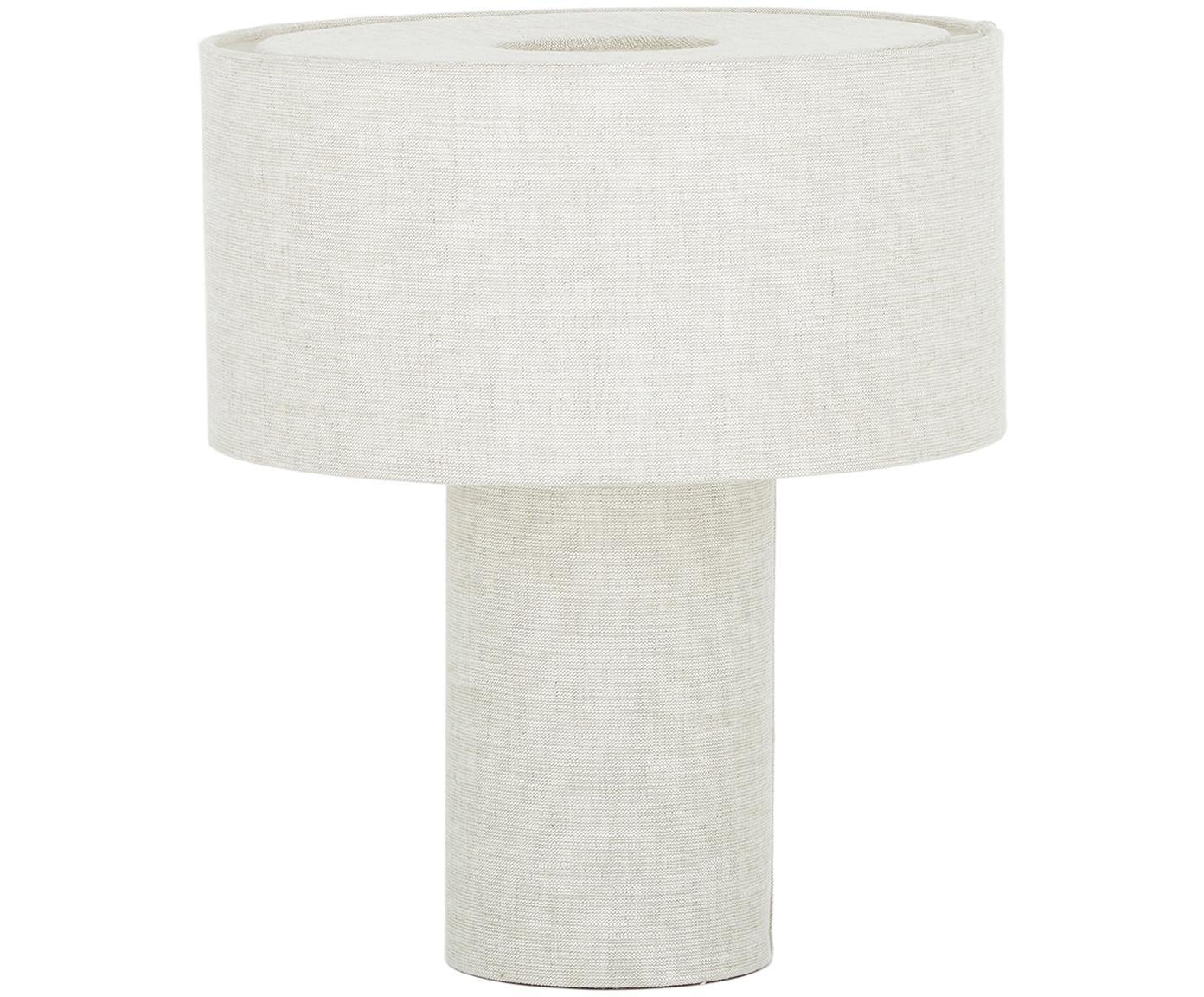 Tischleuchte Ron aus Stoff, Lampenschirm: Textil, Lampenfuß: Kunststoff mit Textilbezu, Beige, Ø 30 x H 35 cm