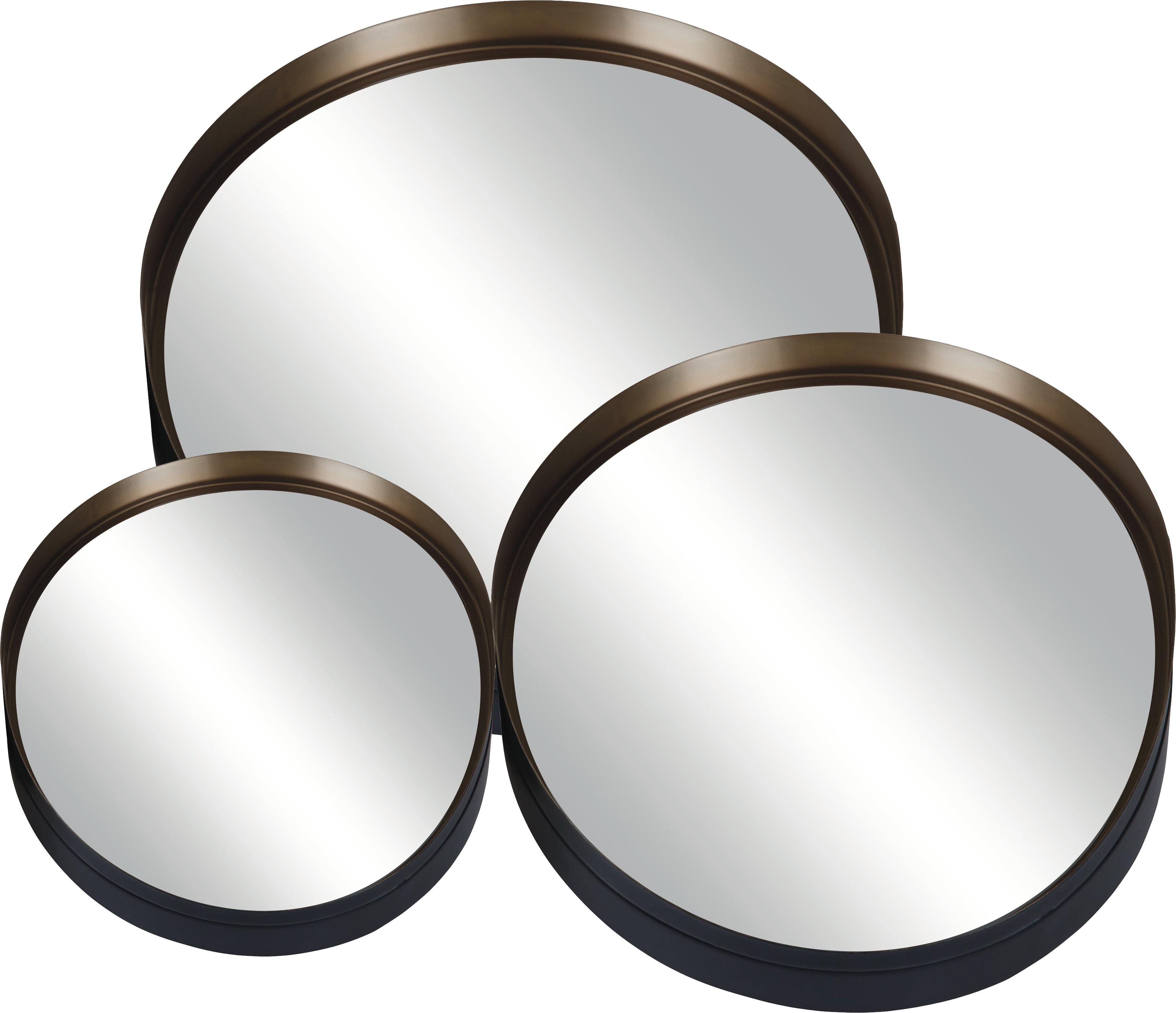 Set 3 specchi da parete rotondi Dolce, Superficie dello specchio: lastra di vetro, Retro: pannello di fibra a media, Nero, dorato, Set in varie misure