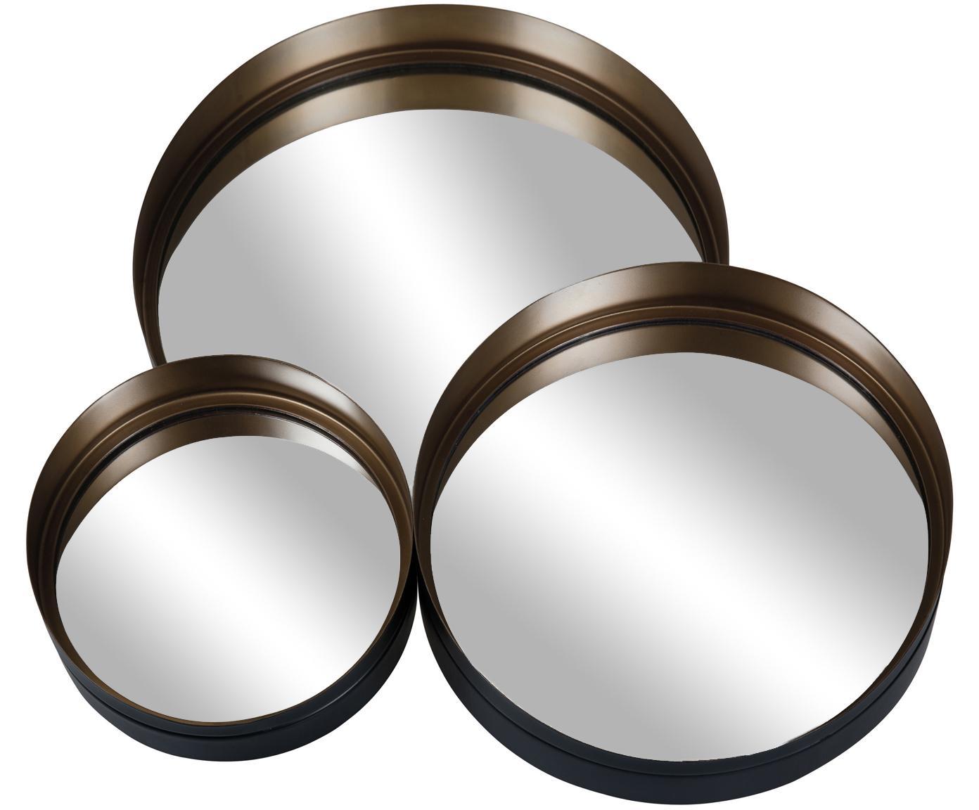 Komplet okrągłych luster ściennych Dolce, 3 elem., Czarny, odcienie mosiężnego, Różne rozmiary