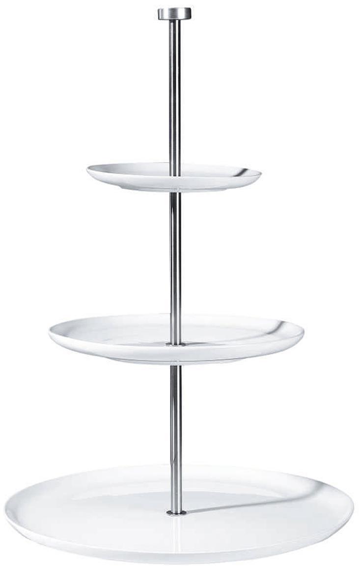 Etagere Kier, Keramik, Metall, Weiß, Ø 30 x H 47 cm