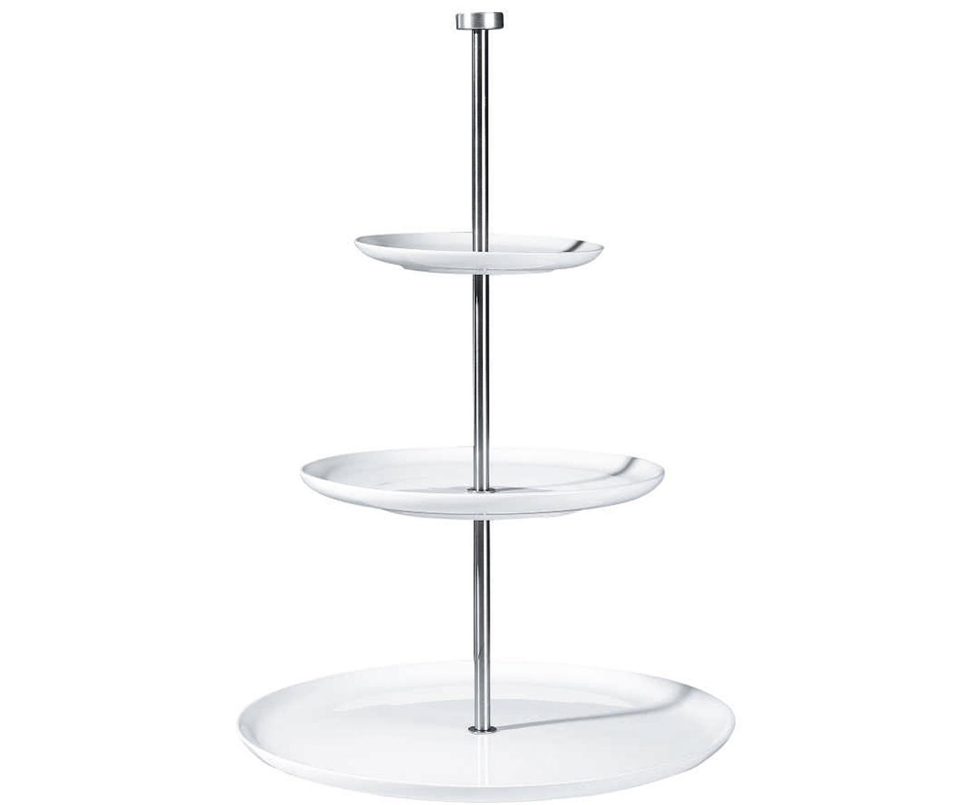 Etagere Kier, Keramik, Metall, Weiss, Ø 30 x H 47 cm