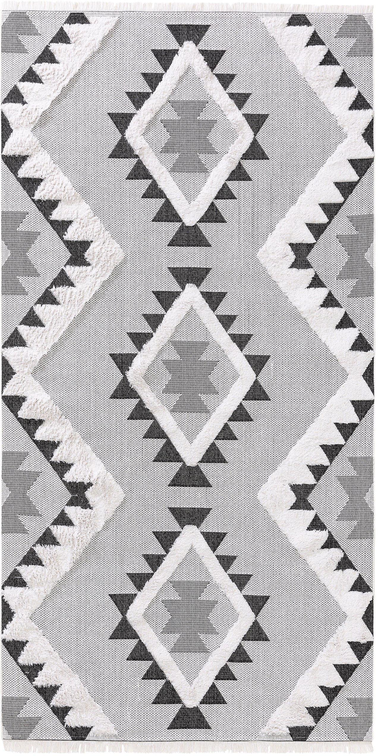 Tappeto in cotone lavato Oslo Aztec, 100% cotone, Bianco crema, tonalità grigie, Larg. 75 x Lung. 150 cm (taglia XS)