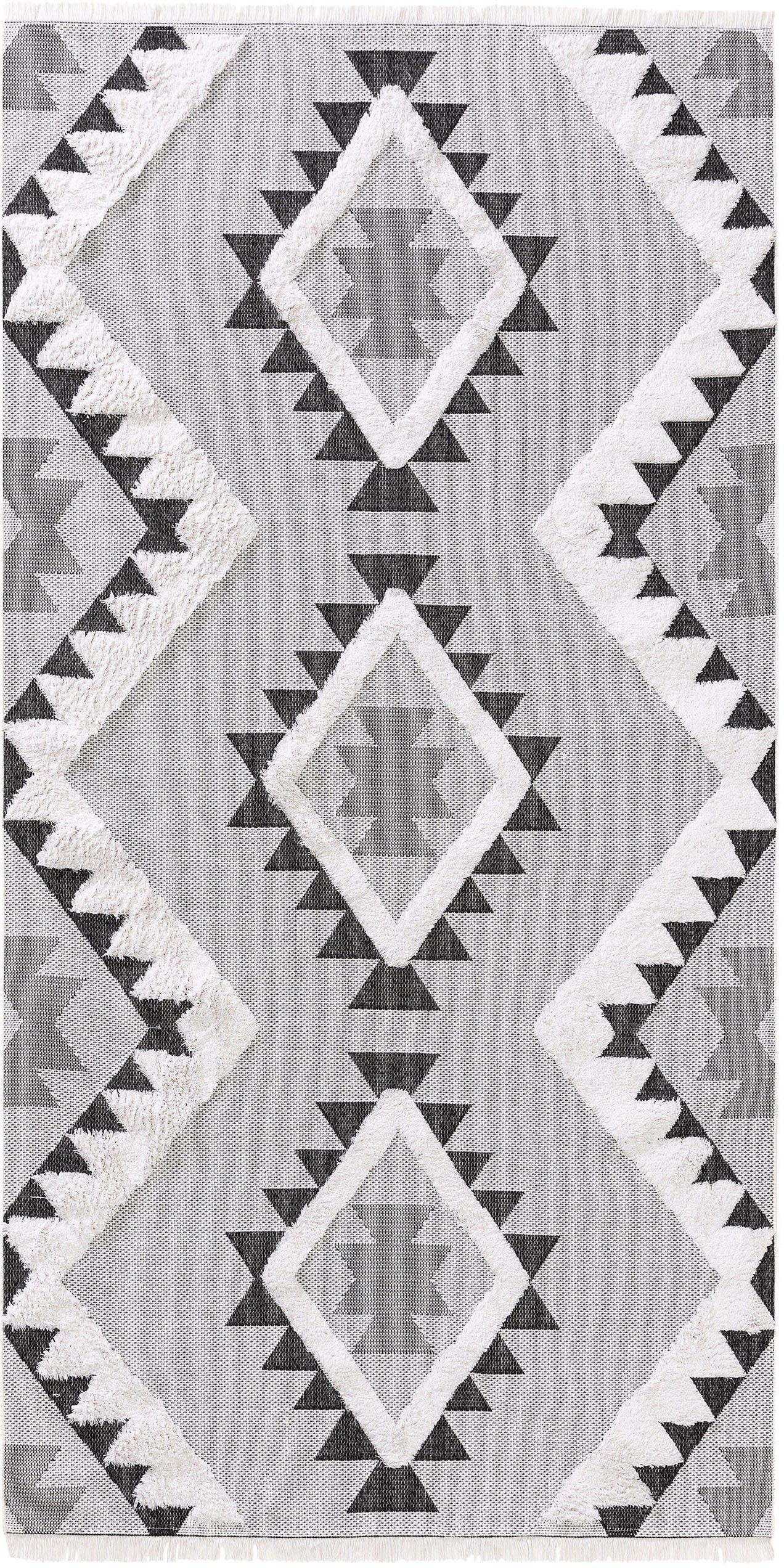Wasbare katoenen vloerkleed Oslo Aztec met hoog-laag structuur, 100% katoen, Crèmewit, grijstinten, B 75 x L 150 cm (maat XS)