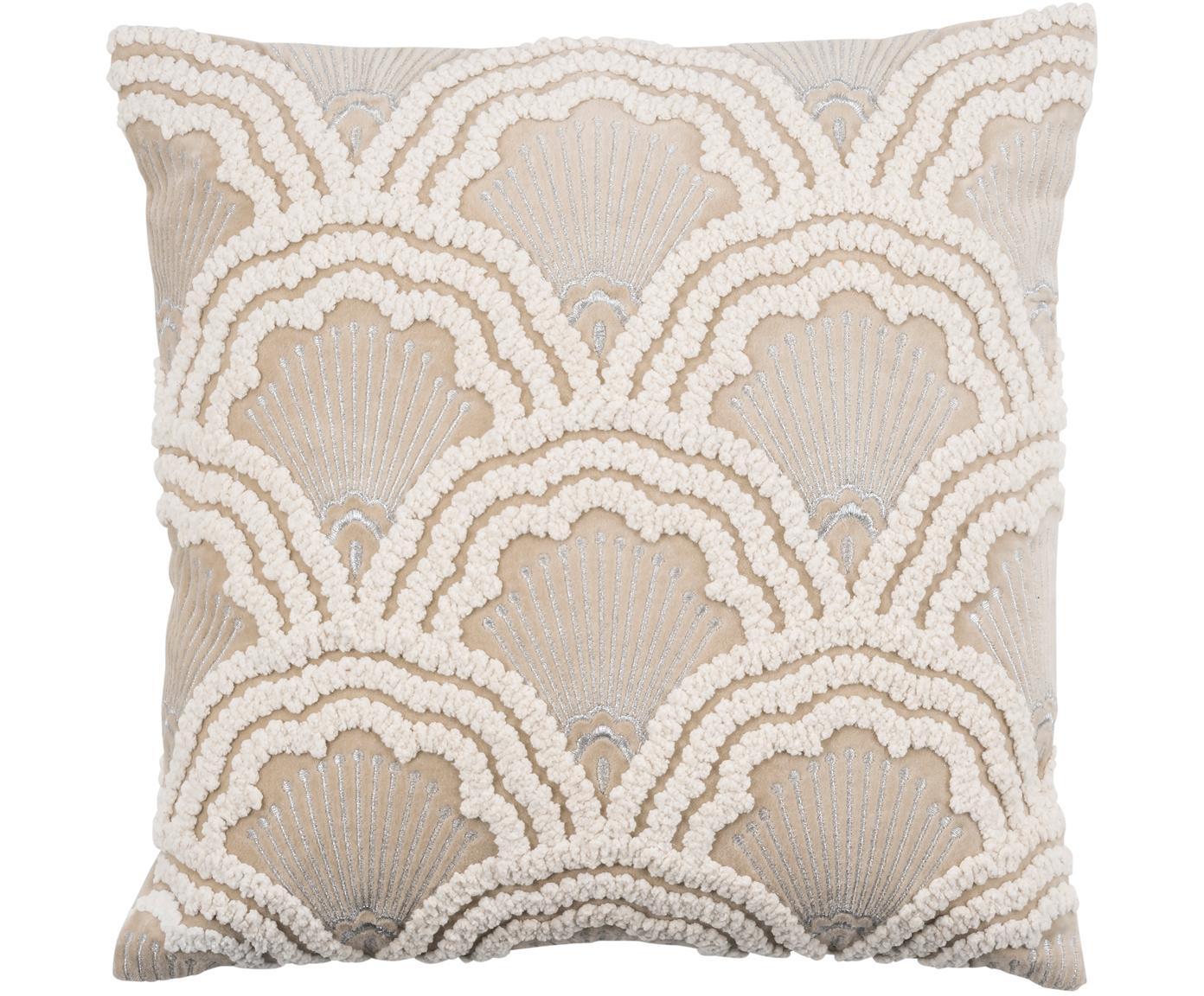 Bestickte Samt-Kissenhülle Chelsey mit Hoch-Tief Muster, 100% Baumwollsamt, Hellbeige, 45 x 45 cm