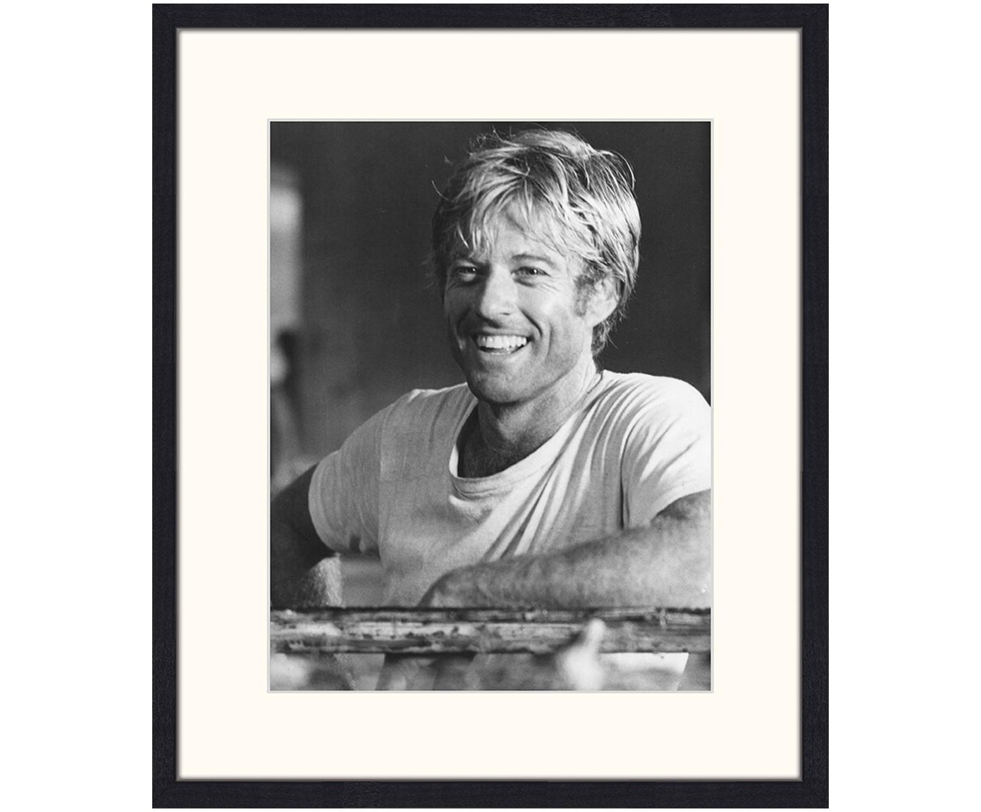 Gerahmter Digitaldruck Robert Redford, Bild: Digitaldruck auf Papier, , Rahmen: Holz, lackiert, Front: Plexiglas, Bild: Schwarz, Weiß Rahmen: Schwarz, 53 x 63 cm