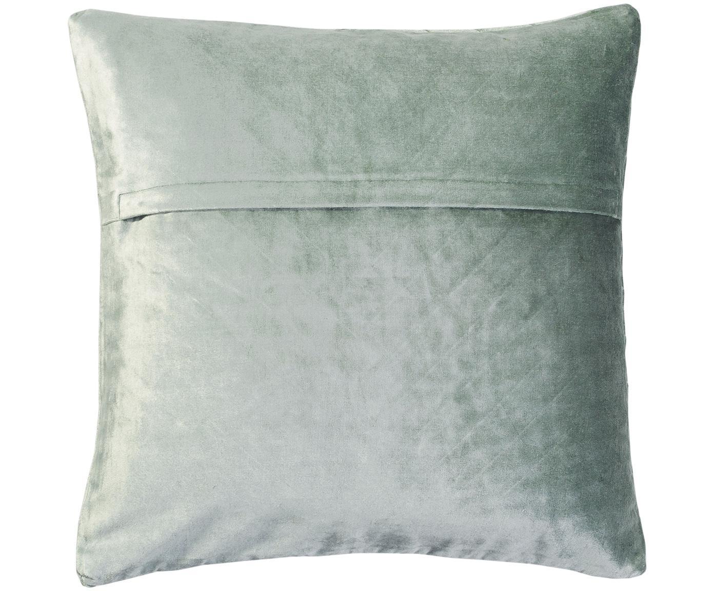 Poszewka na poduszkę z aksamitu Betty, 50% bawełna, 50% wiskoza, Szałwiowa zieleń, S 50 x D 50 cm