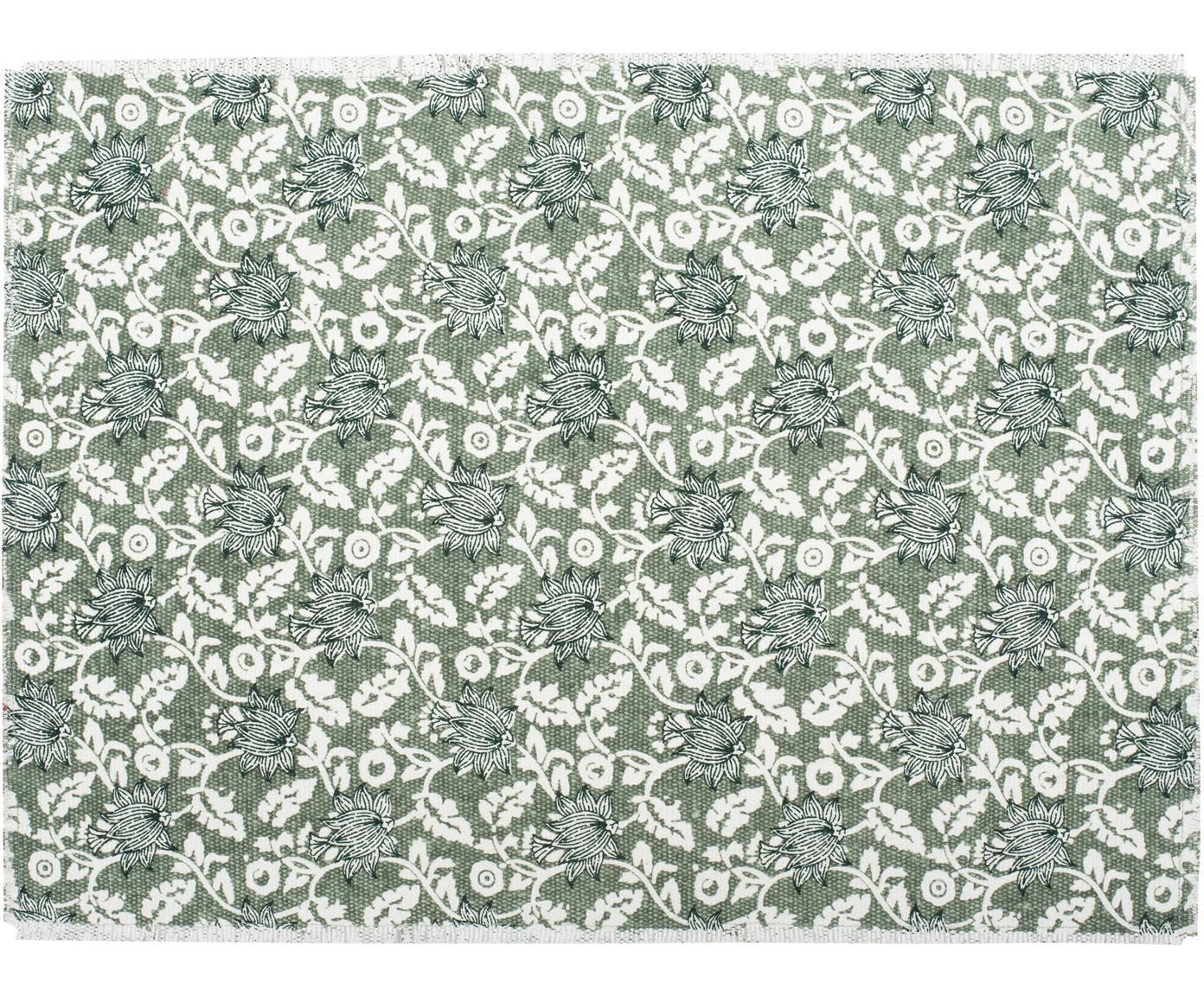 Baumwoll-Tischsets Gaya mit Blumenprint, 2 Stück, Baumwolle, Grüntöne, 35 x 38 cm