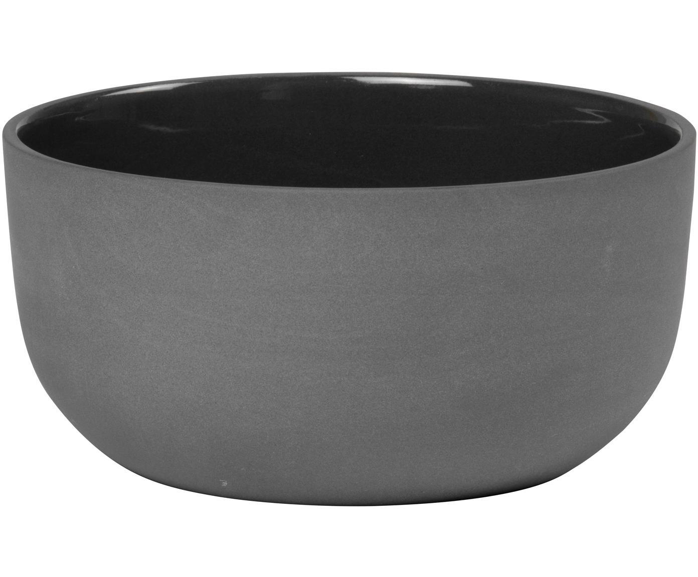 Schälchen Nudge in Dunkelgrau matt/glänzend, 4 Stück, Porzellan, Dunkelgrau, Ø 14 cm