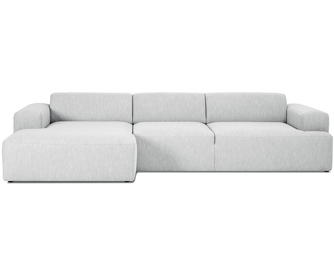 Ecksofa Melva (4-Sitzer), Bezug: Polyester 35.000 Scheuert, Gestell: Massives Kiefernholz, Spa, Füße: Kiefernholz, Webstoff Hellgrau, B 319 x T 144 cm