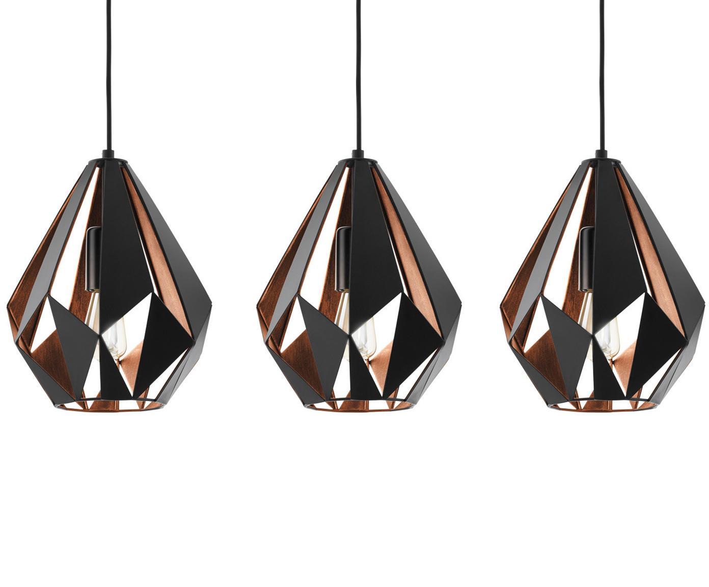 Lampada a sospensione stile nordico Carlton, Nero, Larg. 81 x Alt. 28 cm
