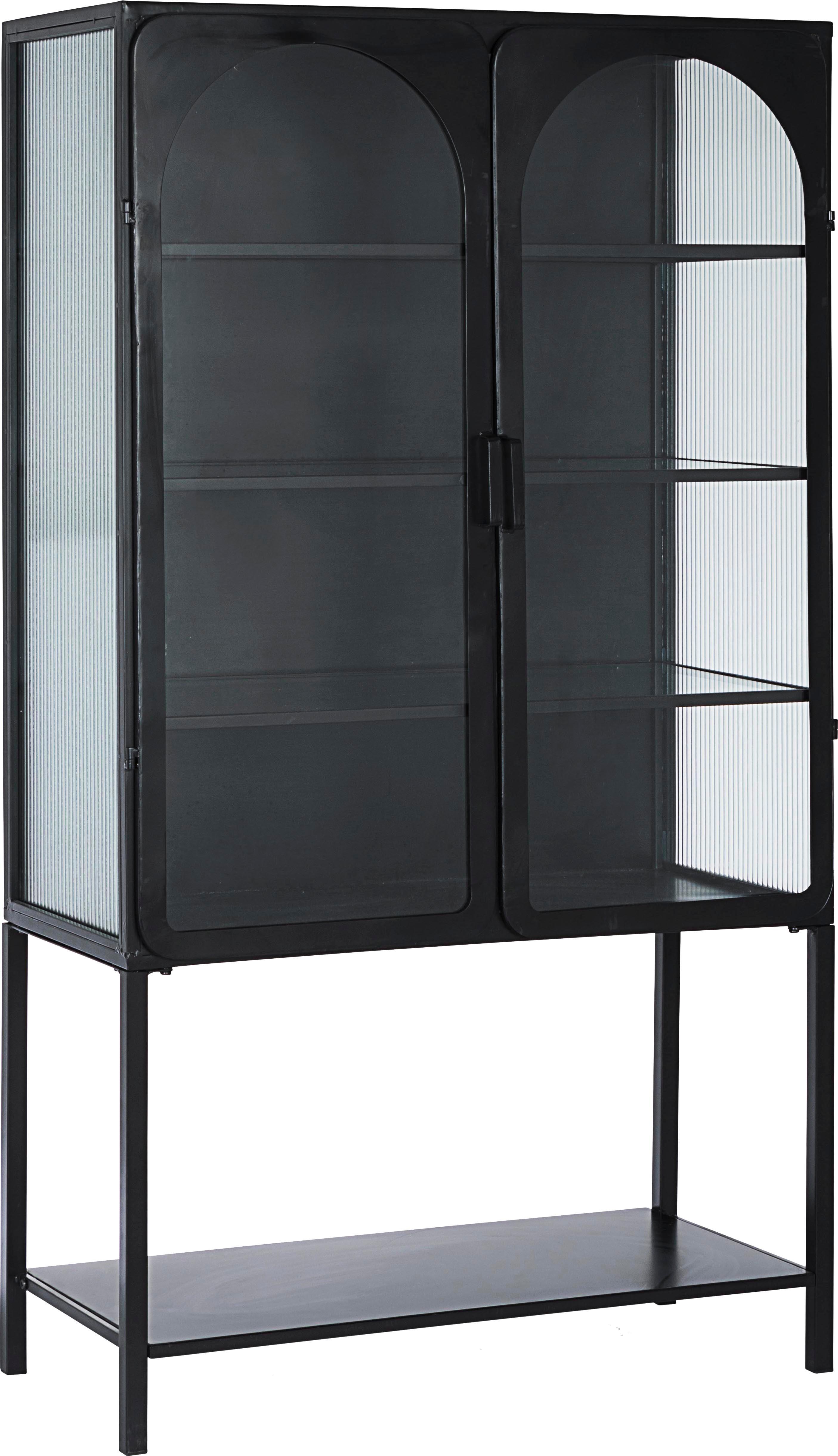 Witryna Nerissa, Stelaż: stal epoksydowana, malowa, Czarny, transparentny, S 88 x G 44 cm