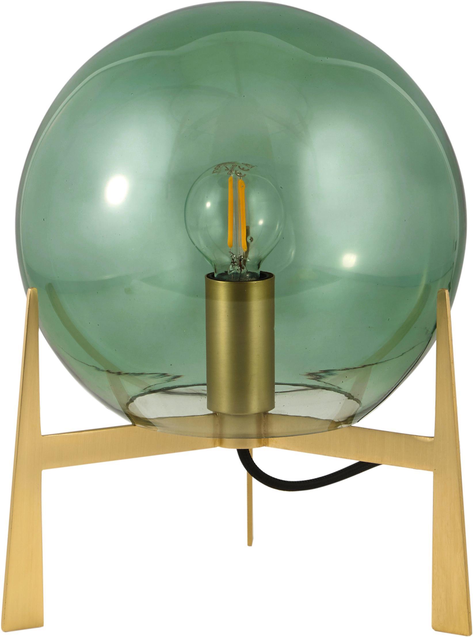 Tischlampe Milla aus farbigem Glas, Lampenschirm: Glas, Lampenfuß: Messing, Grün, Messingfarben, Schwarz, Ø 22 x H 28 cm
