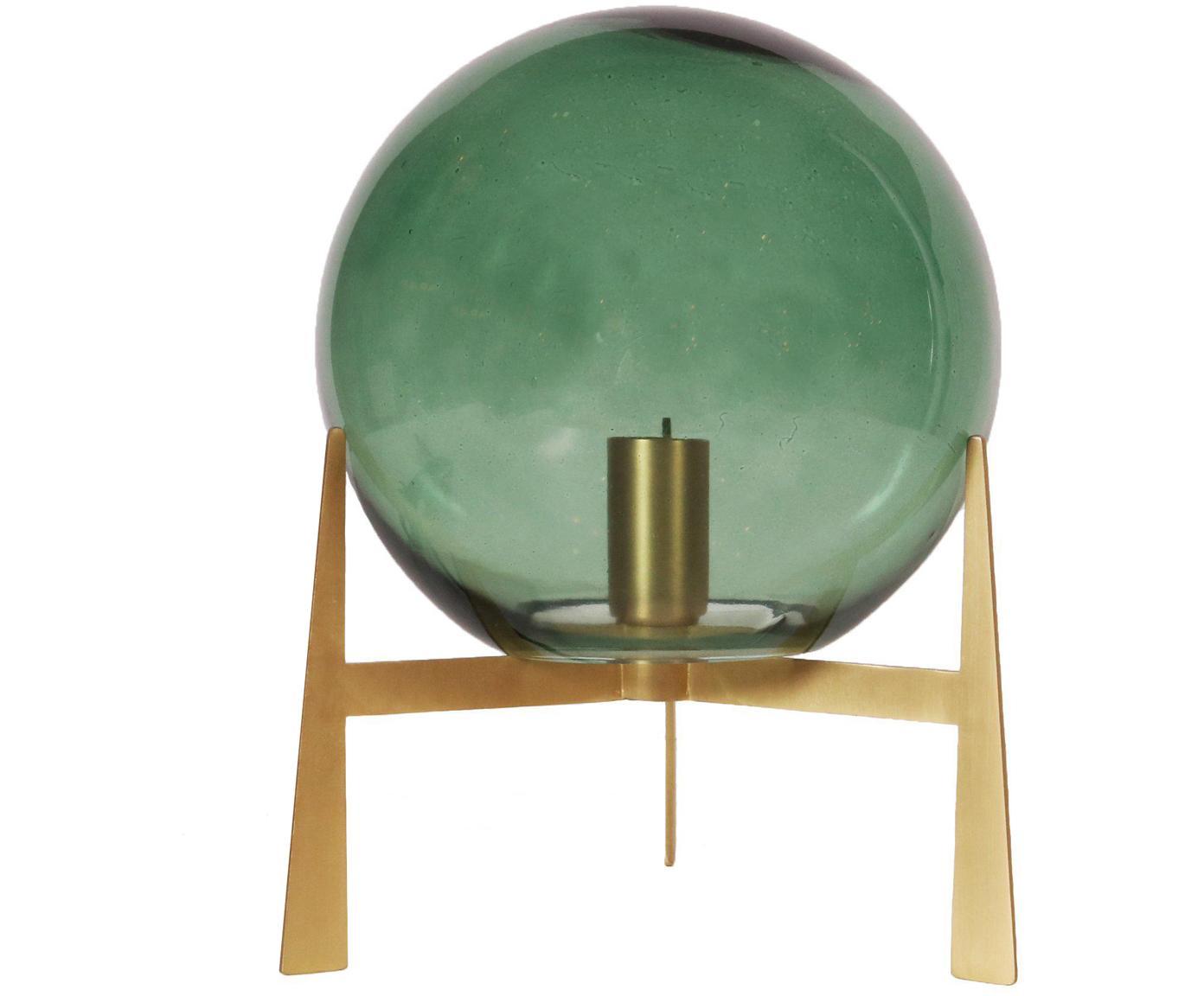 Tischleuchte Milla aus Glas, Lampenschirm: Glas, Lampenfuß: Messing, Grün, Messingfarben, Schwarz, Ø 22 x H 28 cm