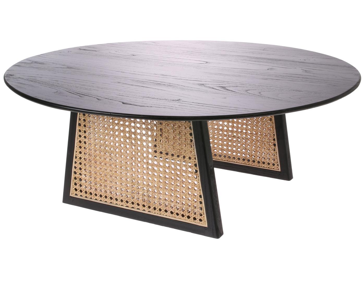 Tavolino da salotto rotondo in vimini Retro, Intreccio viennese: rattan, Nero, Ø 80 cm x Alt. 30 cm